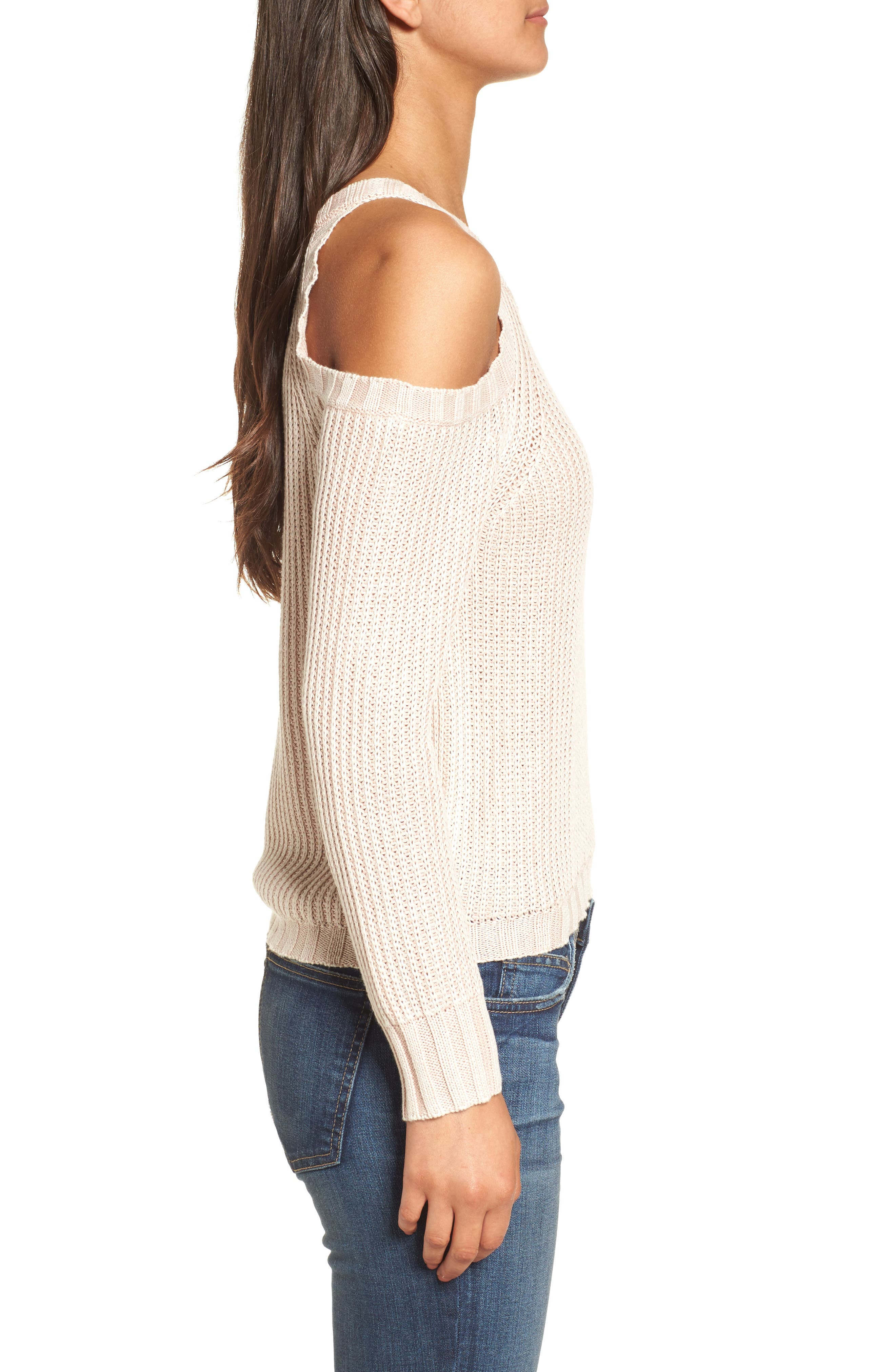 Mika Cold Shoulder Sweater,                             Alternate thumbnail 3, color,                             Blush