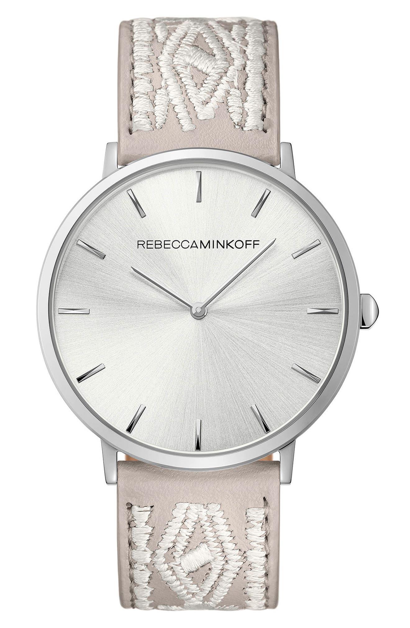 REBECCA MINKOFF Leather Strap Watch, 40mm