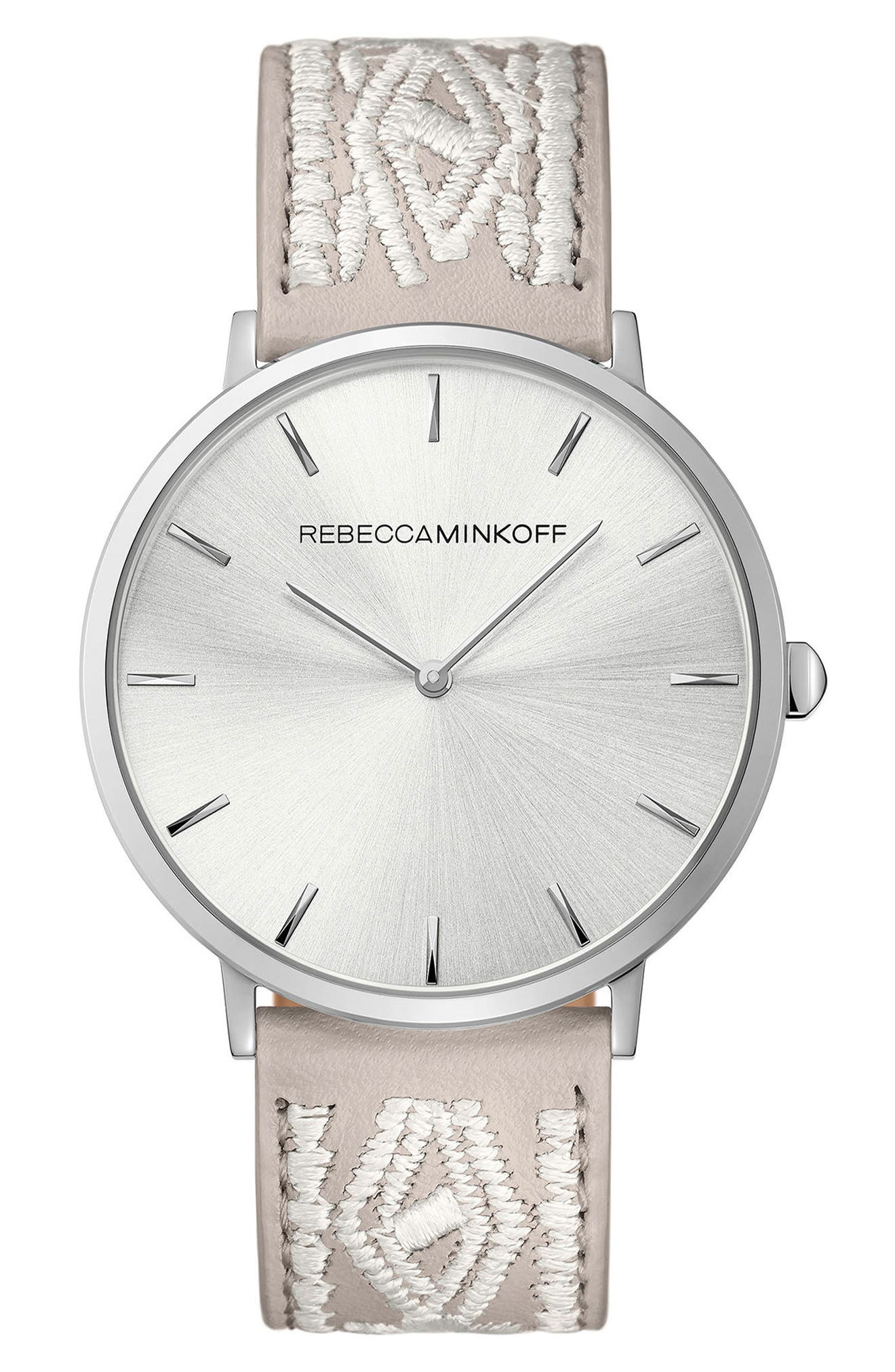 Rebecca Minkoff Leather Strap Watch, 40mm