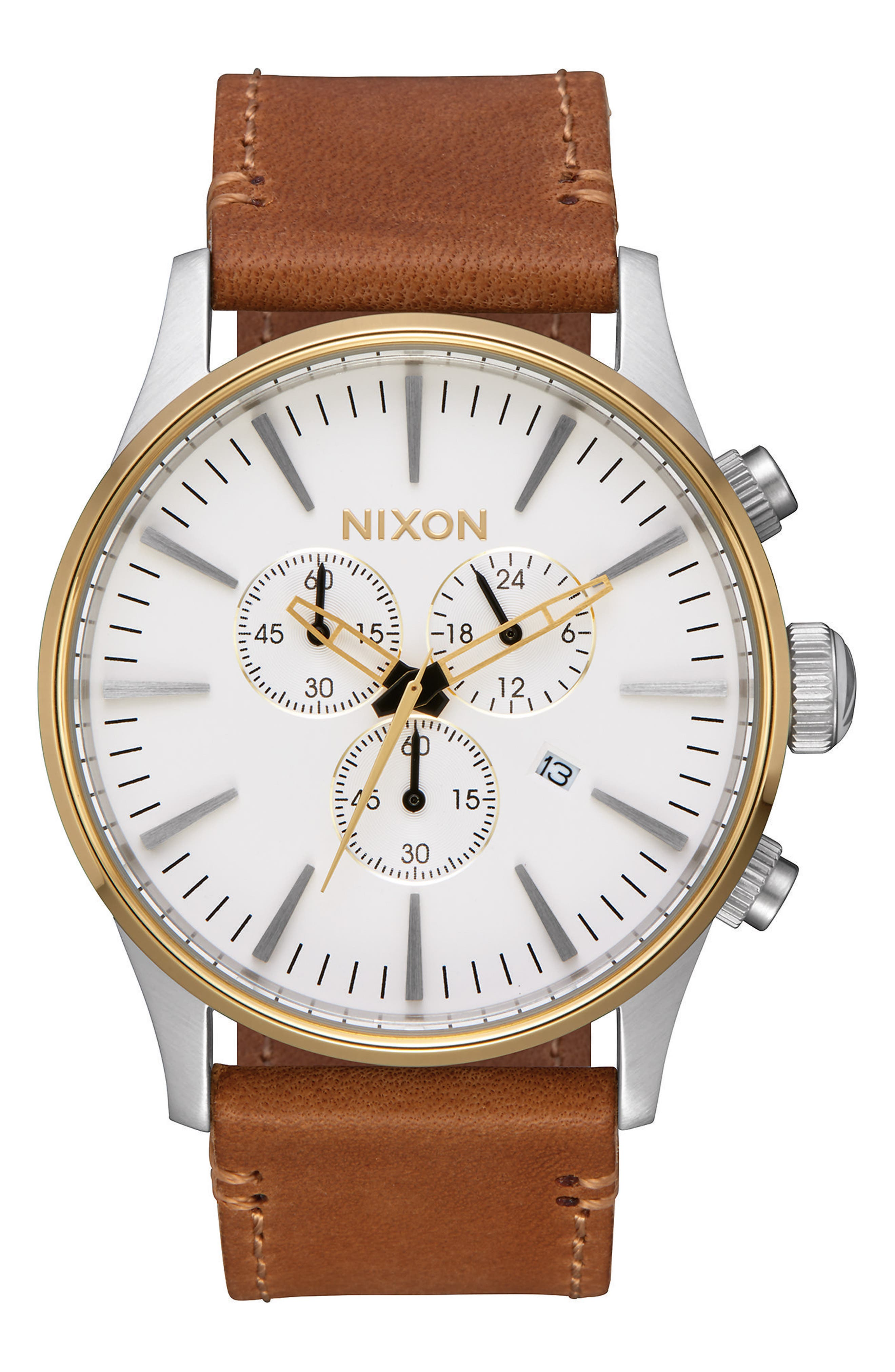 The Sentry Chronograph Leather Strap Watch, 42mm,                         Main,                         color, Tan/ Cream/ Gold