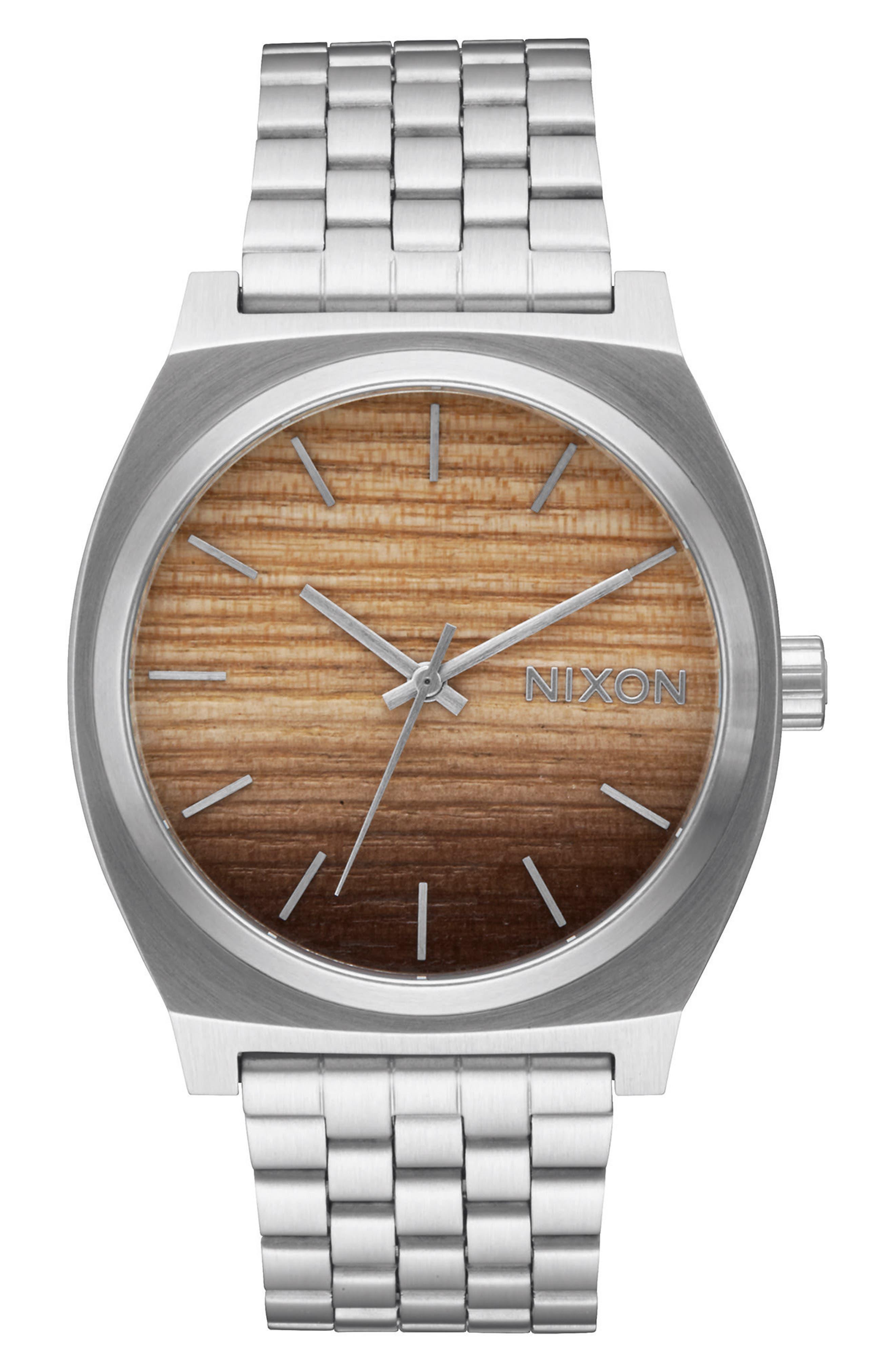 Time Teller Bracelet Watch, 37mm,                             Main thumbnail 1, color,                             Silver/ Wood/ Silver