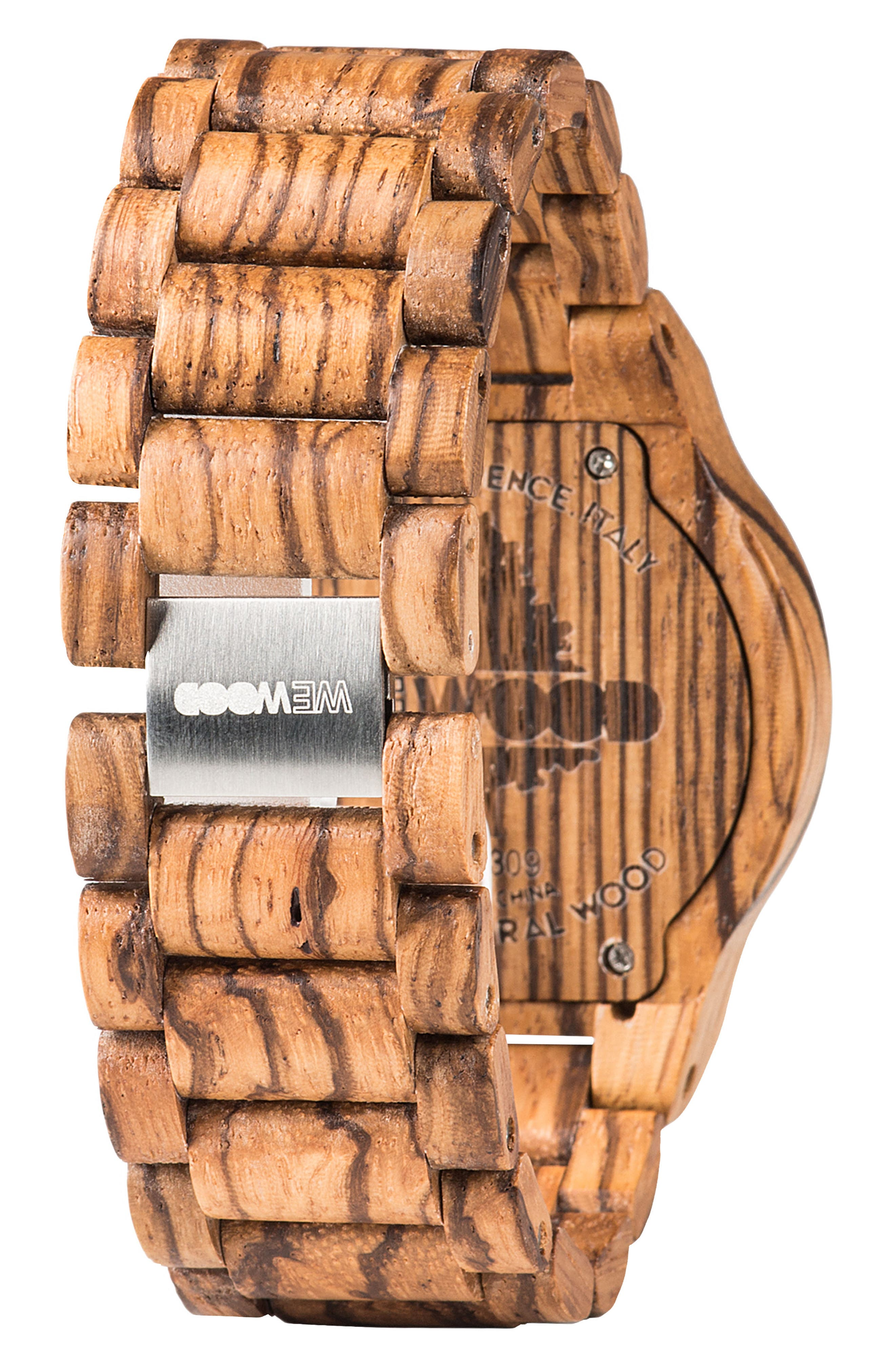 Kardo Multifunctional Wood Bracelet Watch, 46mm,                             Alternate thumbnail 2, color,                             Brown/ Black