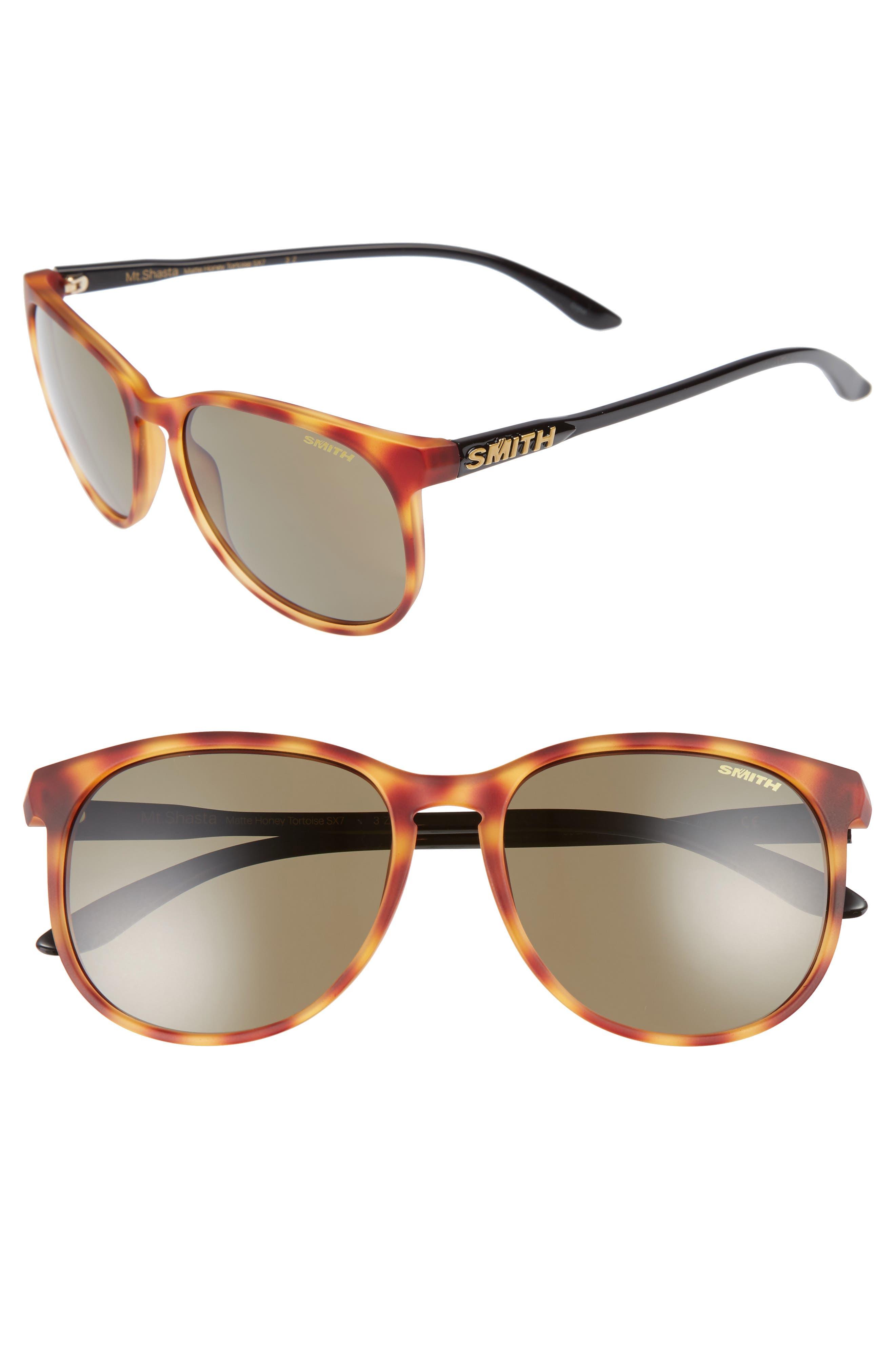 Mt. Shasta 55mm Polarized Keyhole Sunglasses,                         Main,                         color, Matte Honey Tortoise