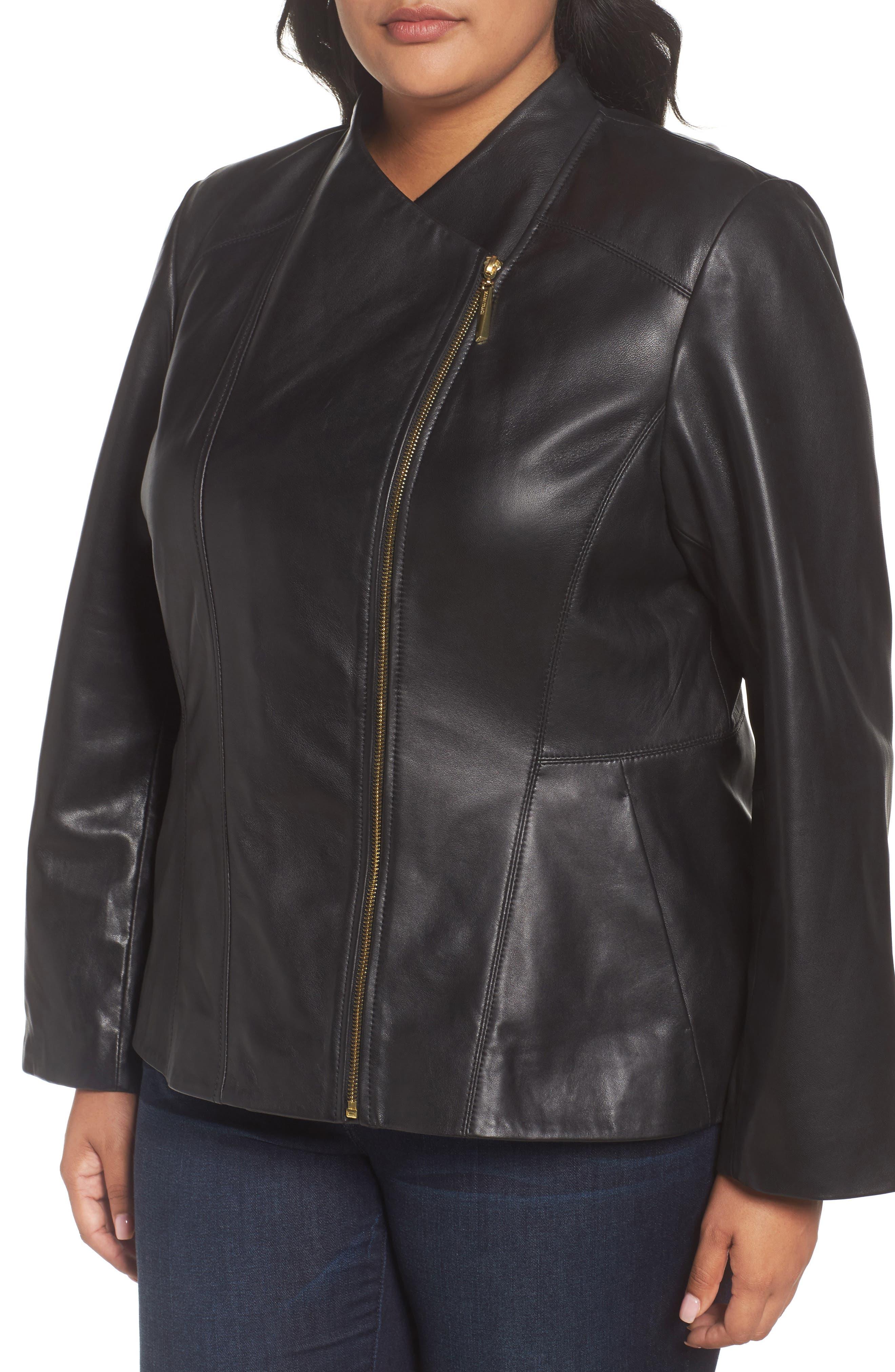 Asymmetrical Zip Leather Jacket,                             Alternate thumbnail 3, color,                             Black