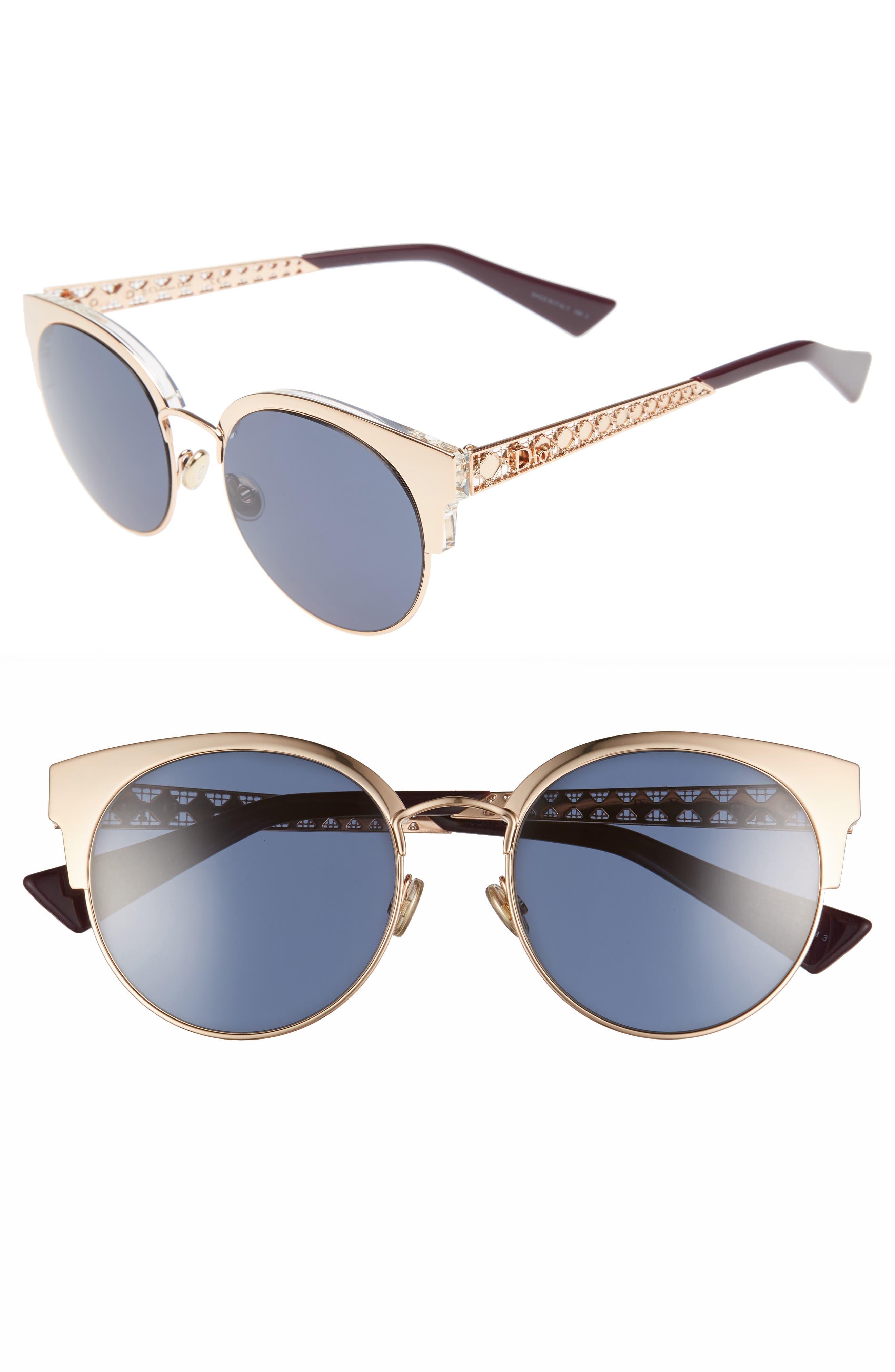 Diorama Mini 54mm Mirrored Lens Cat Eye Sunglasses,                         Main,                         color, Gold/ Copper