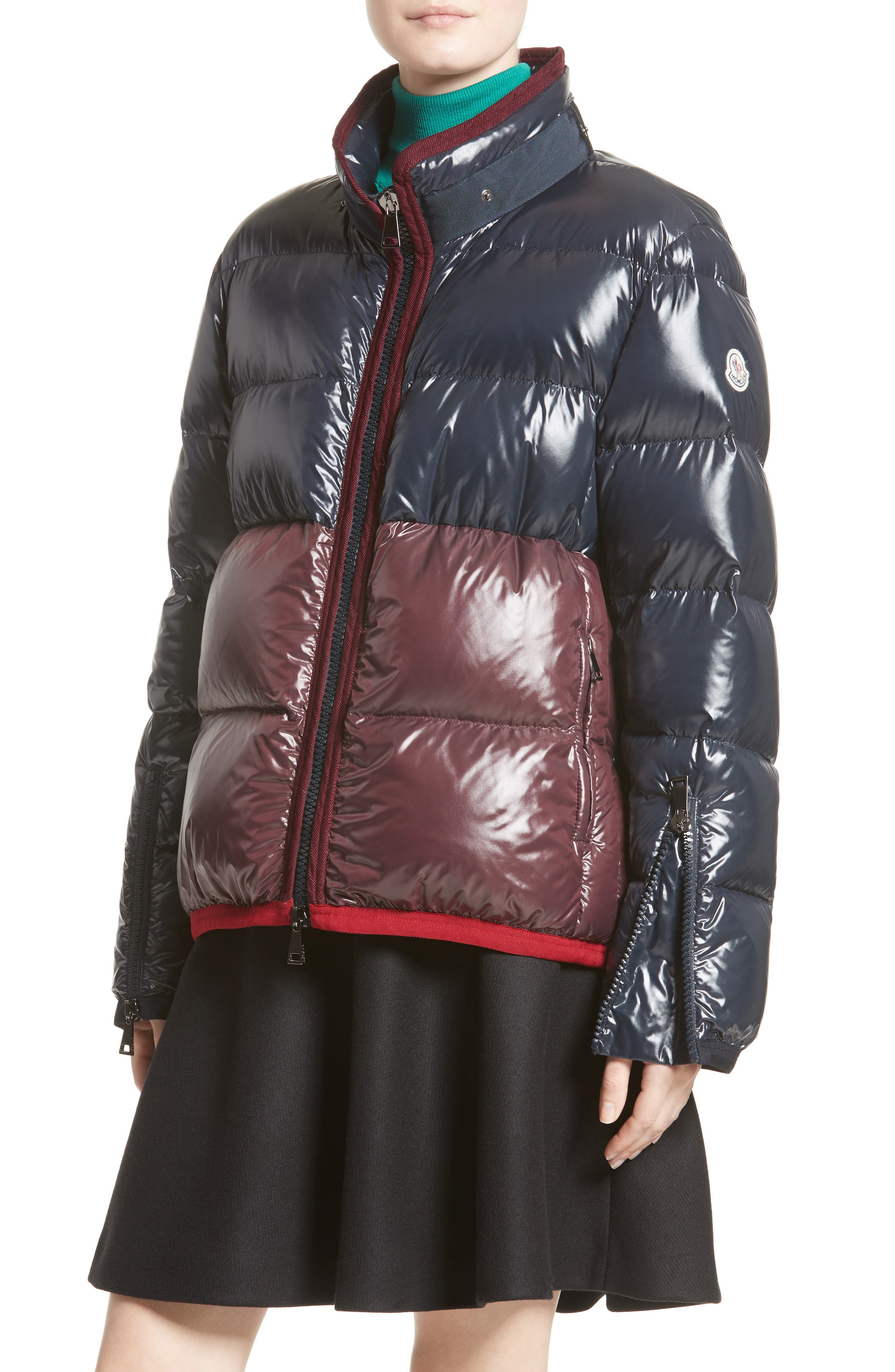 Cotinus Hooded Down Puffer Jacket,                             Alternate thumbnail 4, color,                             Navy/ Burgundy