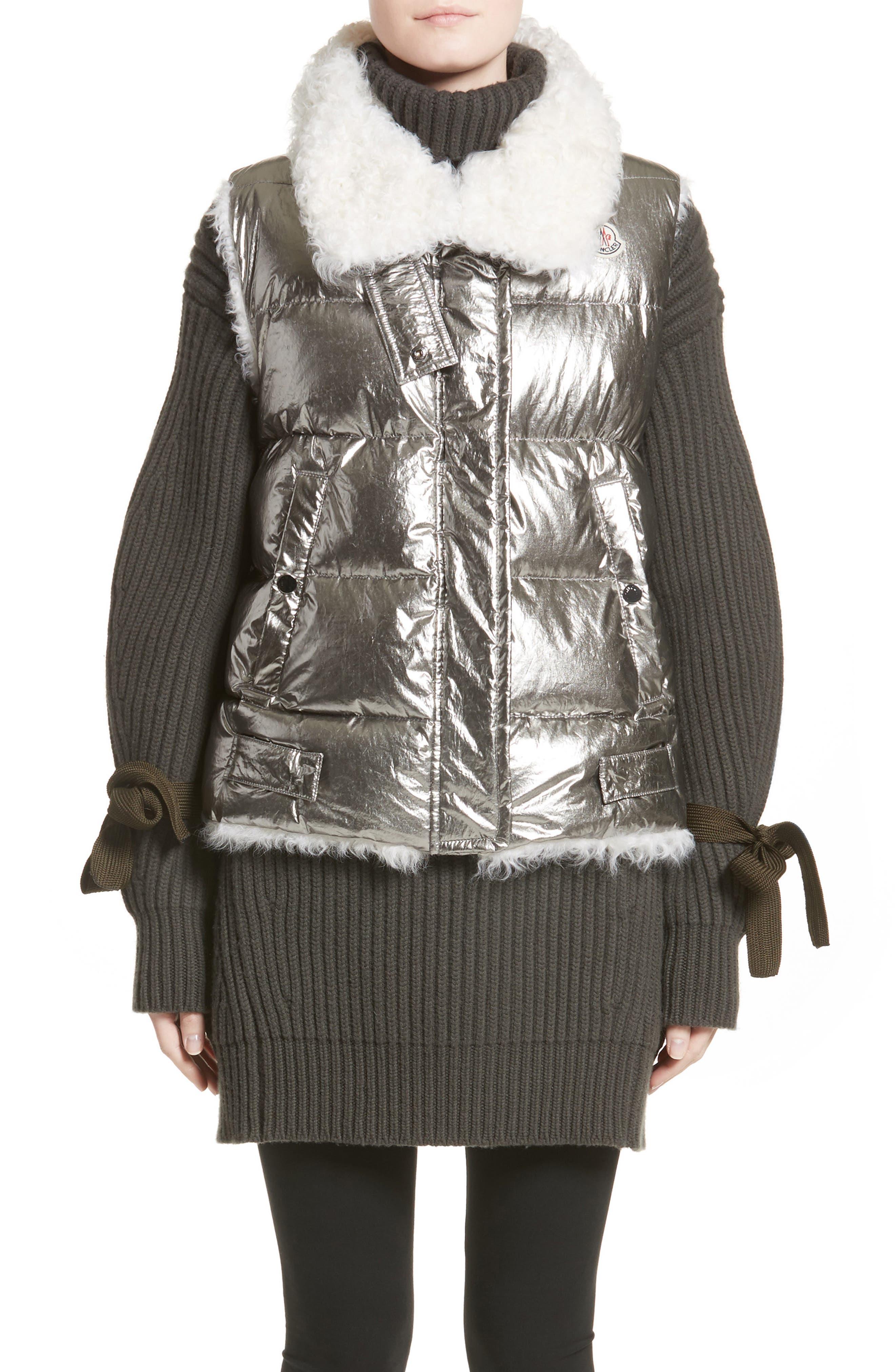 Main Image - Moncler Kerria Metallic Down Vest with Genuine Shearling Trim