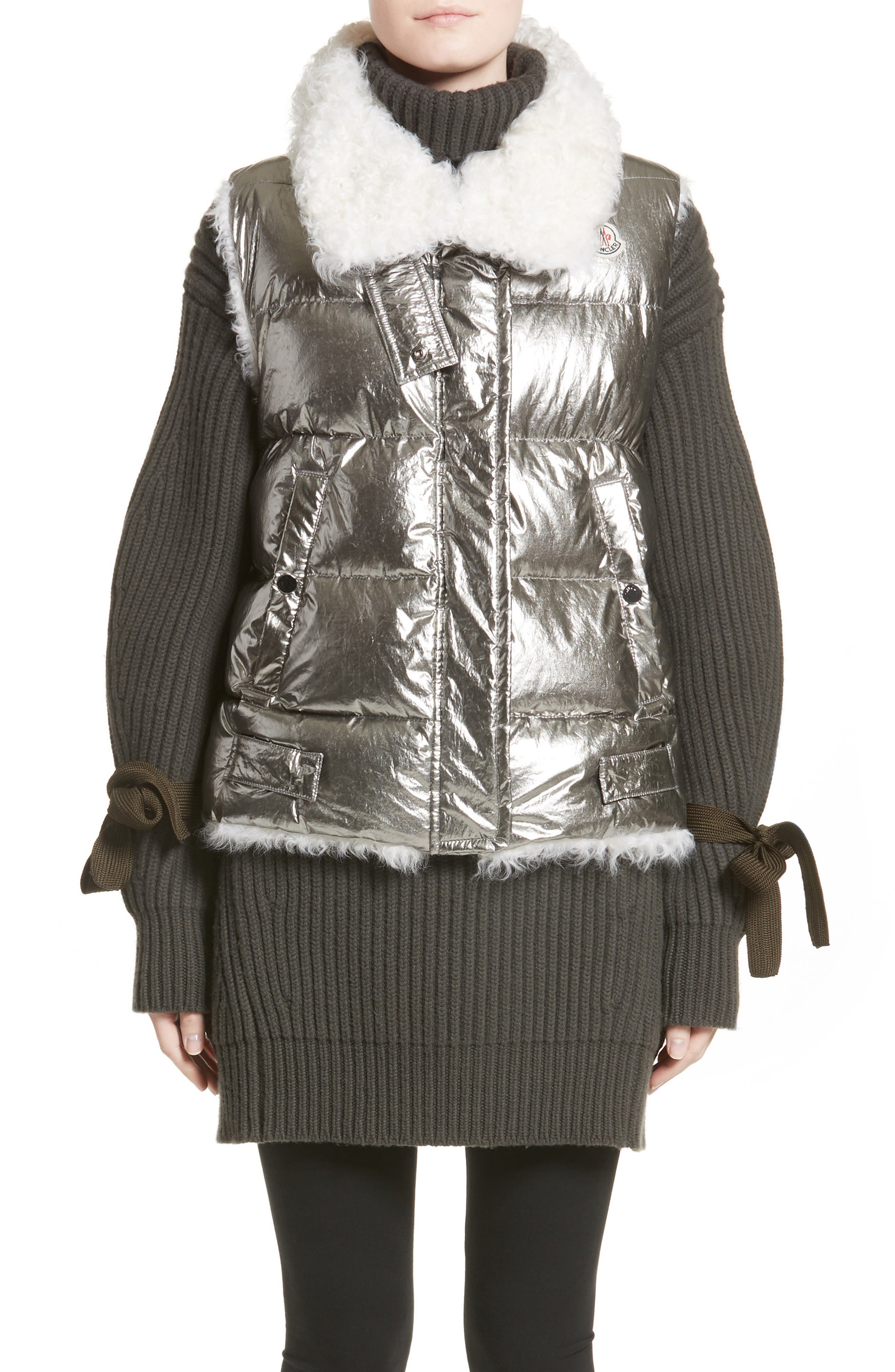 Kerria Metallic Down Vest with Genuine Shearling Trim,                         Main,                         color, Silver