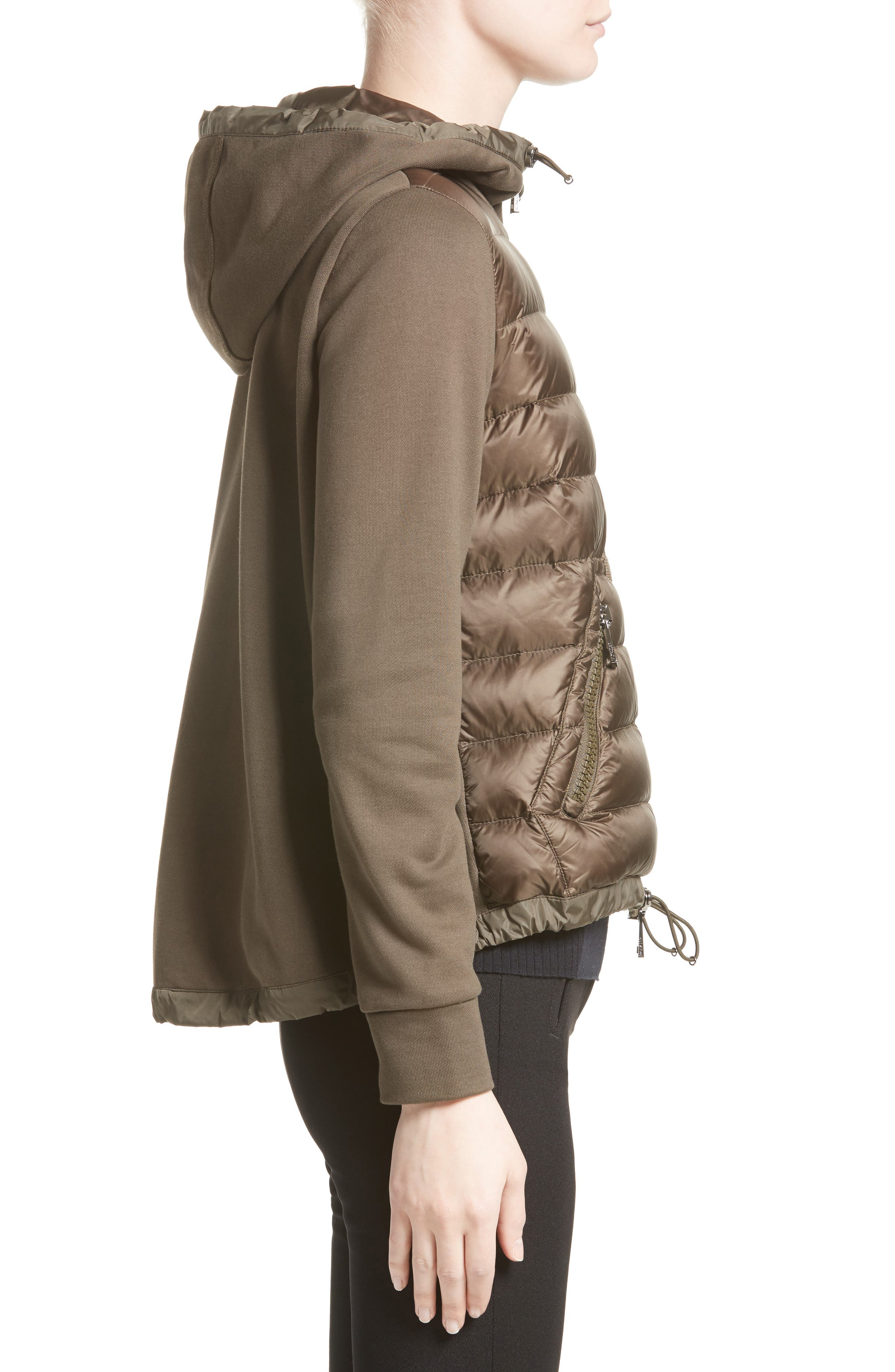 Quilted Front Hooded Jacket,                             Alternate thumbnail 3, color,                             Olive