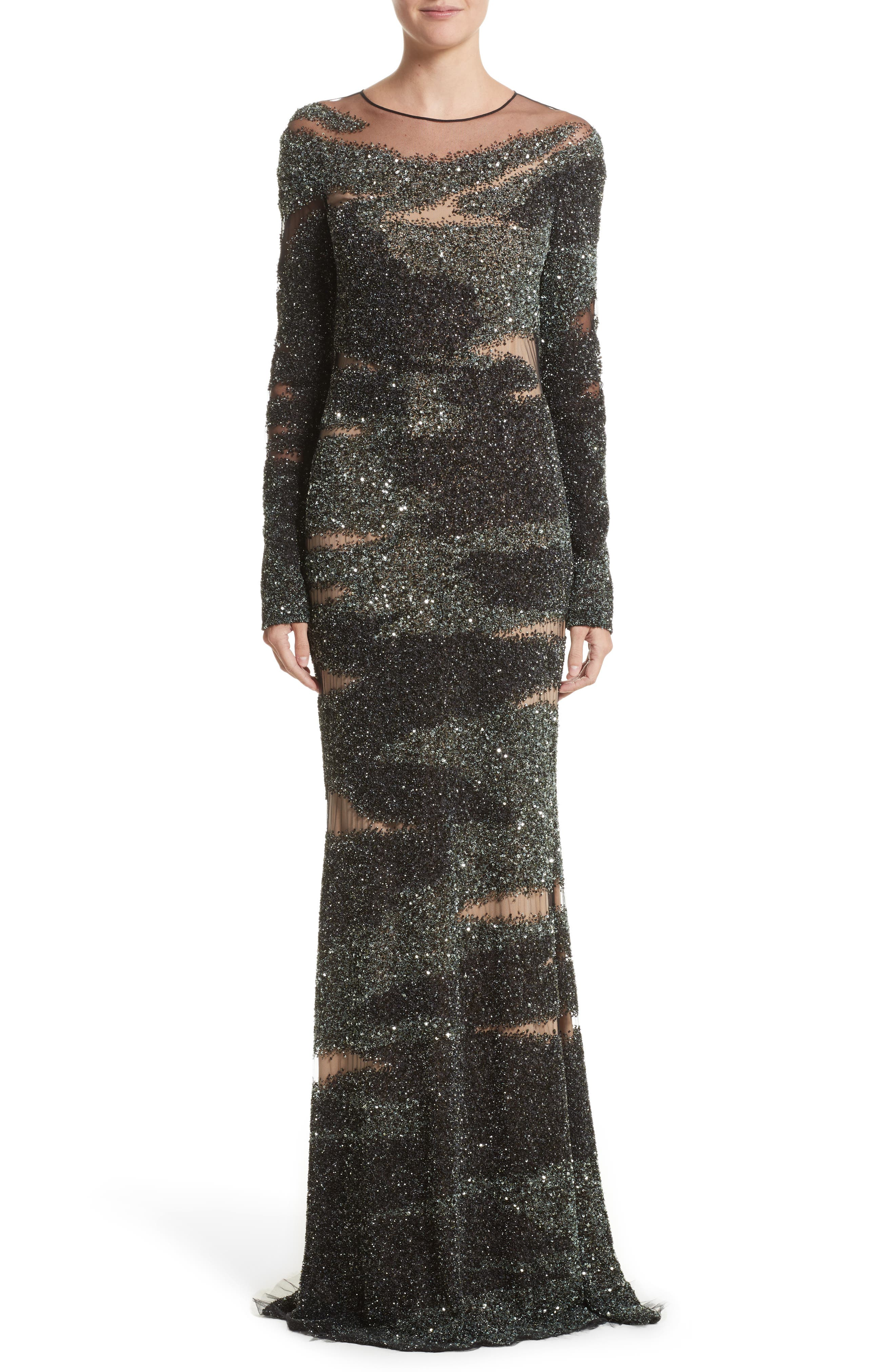 Brushstroke Sequin Long Sleeve Gown,                         Main,                         color, Moss/Gunmetal