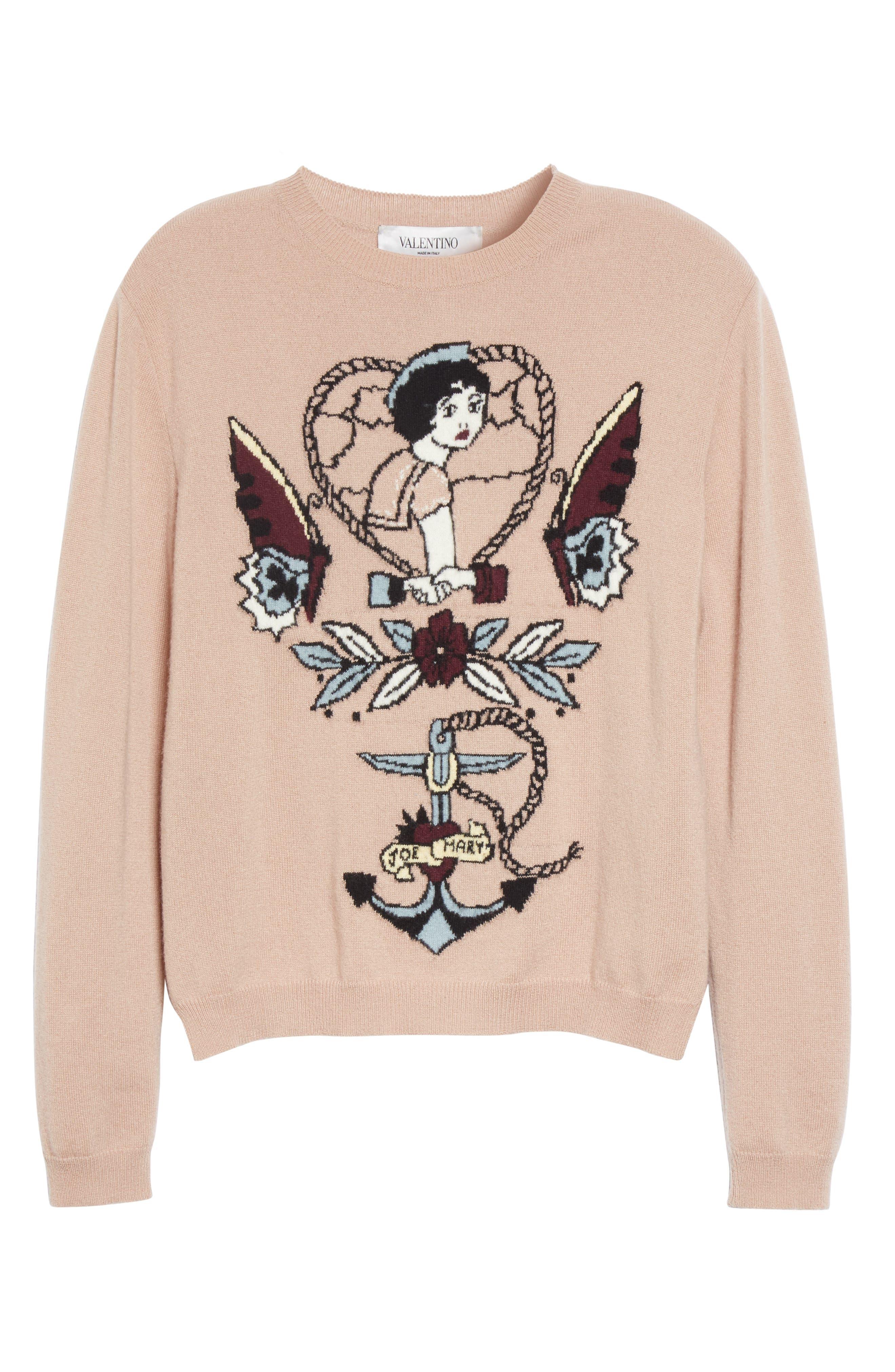 Tattoo Intarsia Wool & Cashmere Sweater,                             Alternate thumbnail 4, color,                             Nude