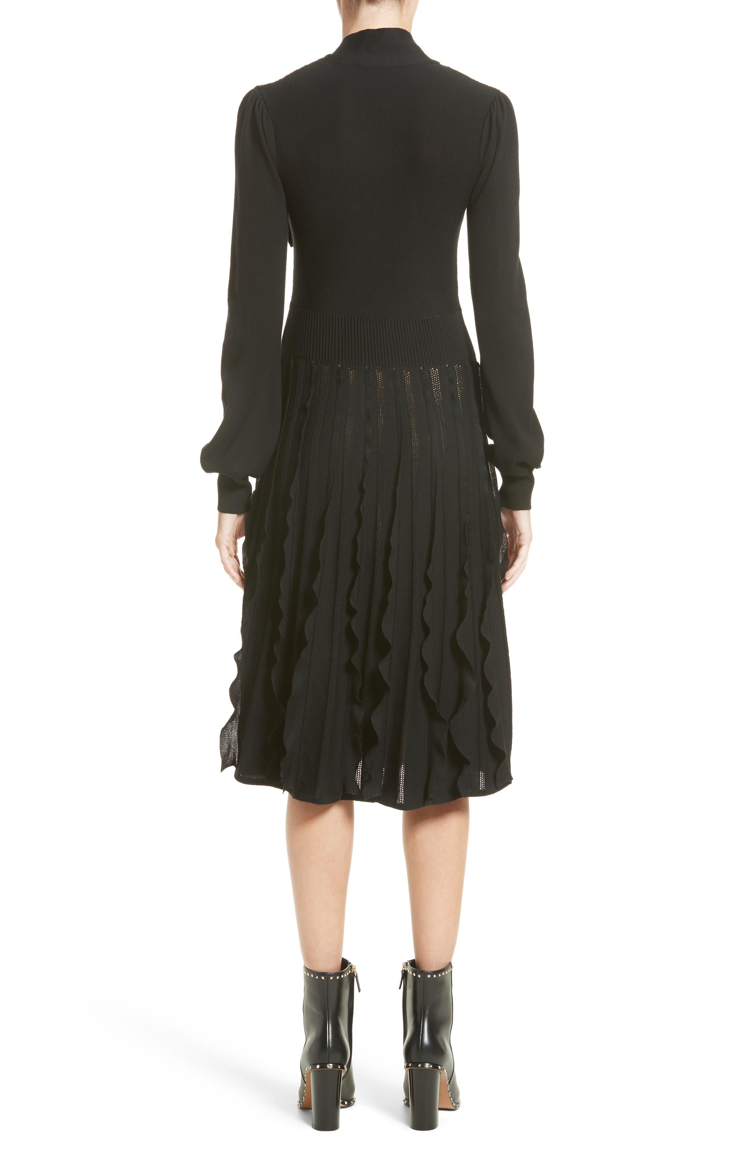 Ruffle Skirt Wool Knit Dress,                             Alternate thumbnail 2, color,                             Black