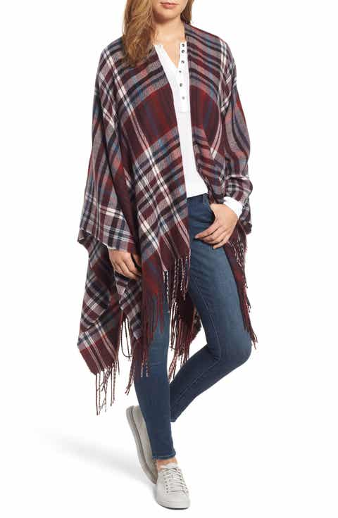 Treasure & Bond Plaid Fringe Cape