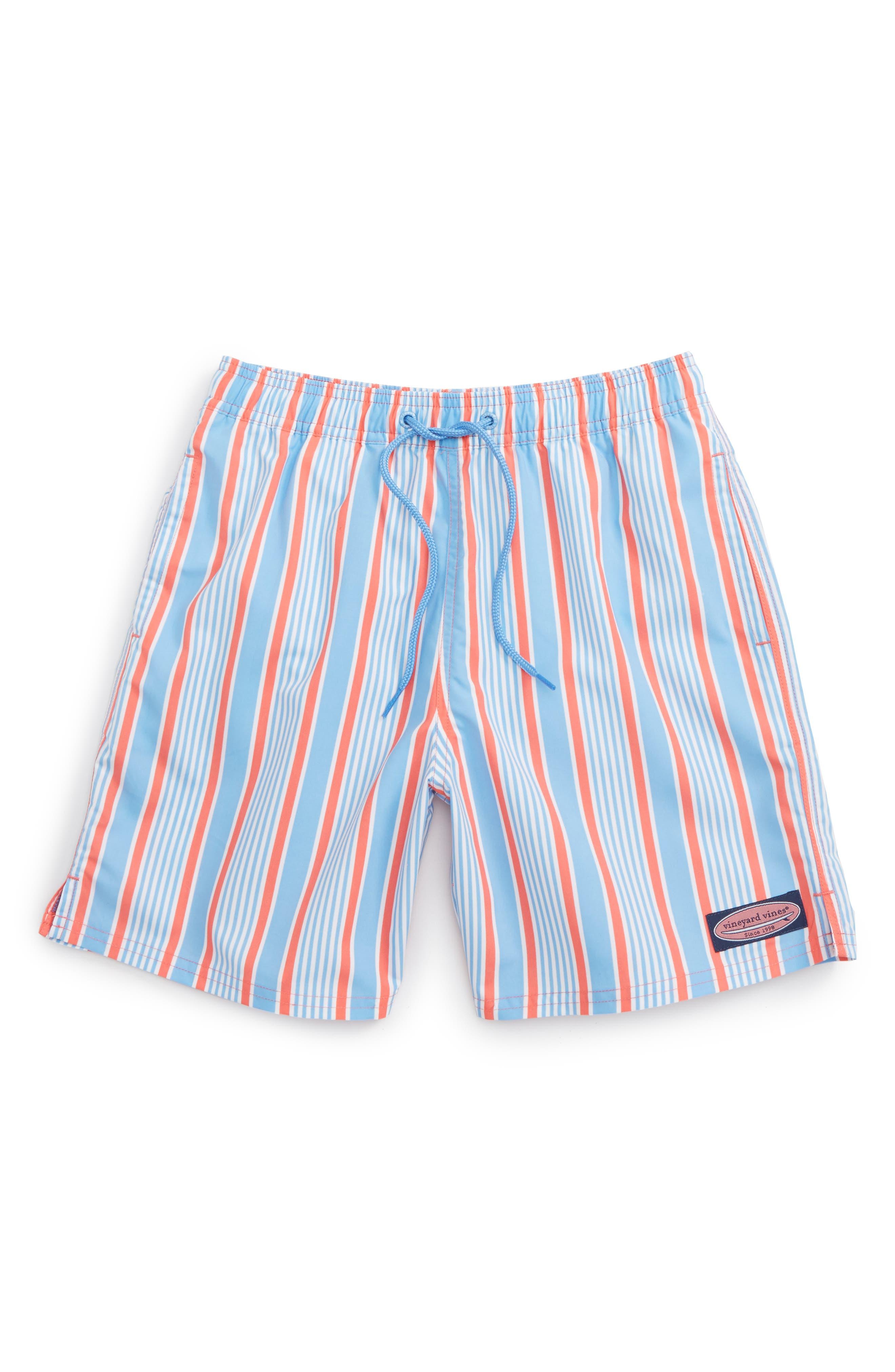 Stripe Bungalow Swim Trunks,                             Main thumbnail 1, color,                             Mai Tai
