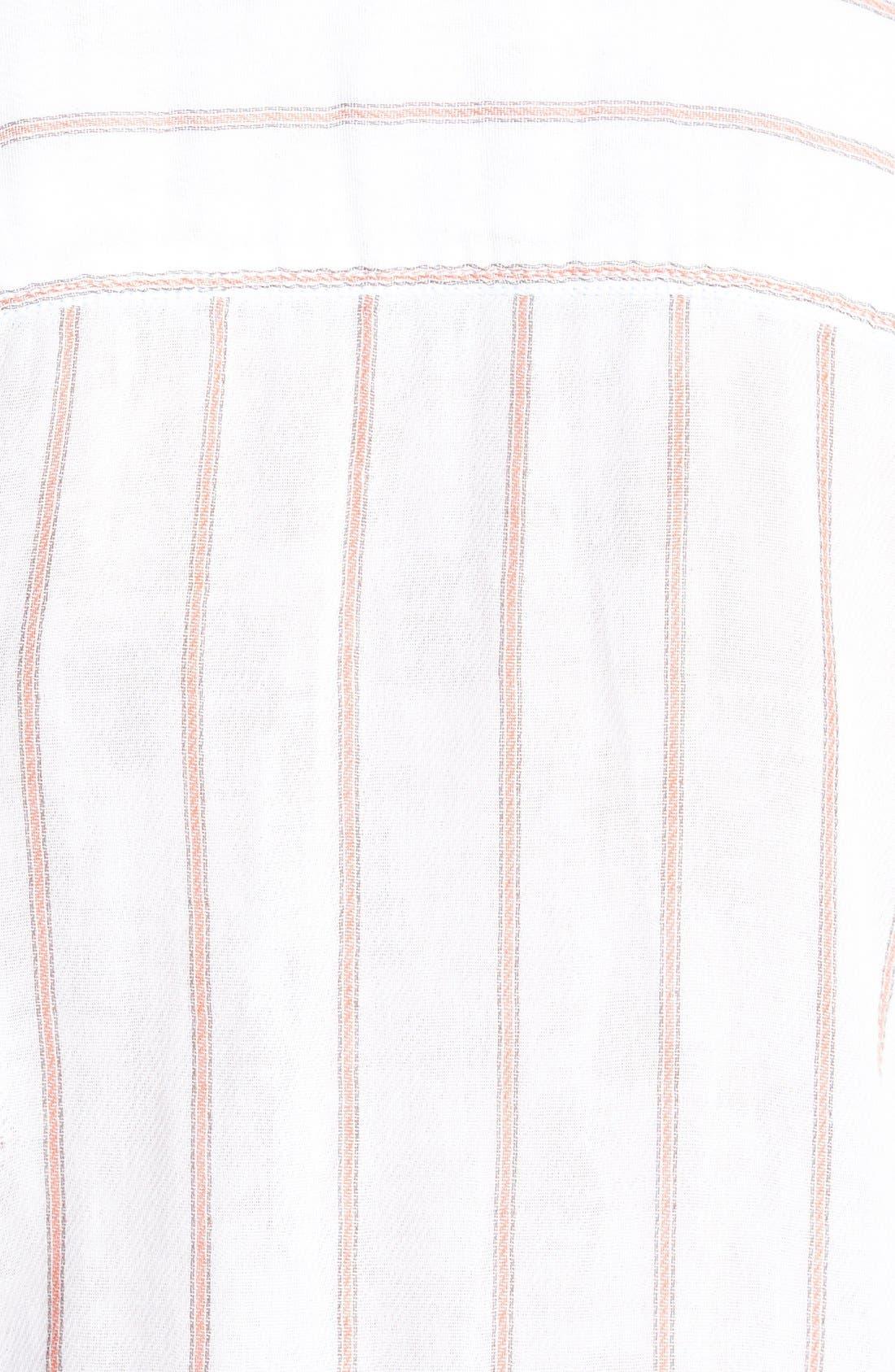 Treasure&Bond Long & Lean Boyfriend Shirt,                             Alternate thumbnail 4, color,                             Coral Spice Ticking Stripe