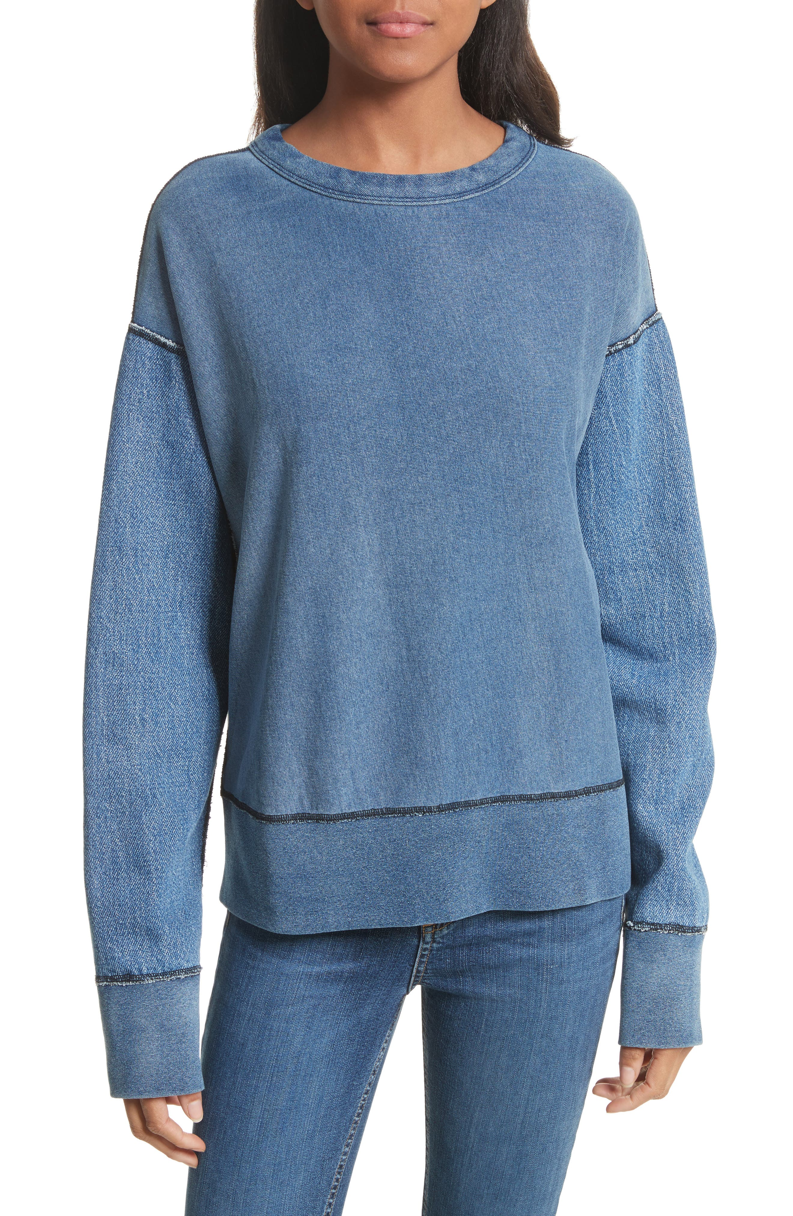 Main Image - rag & bone Indigo Baby Racer Sweatshirt