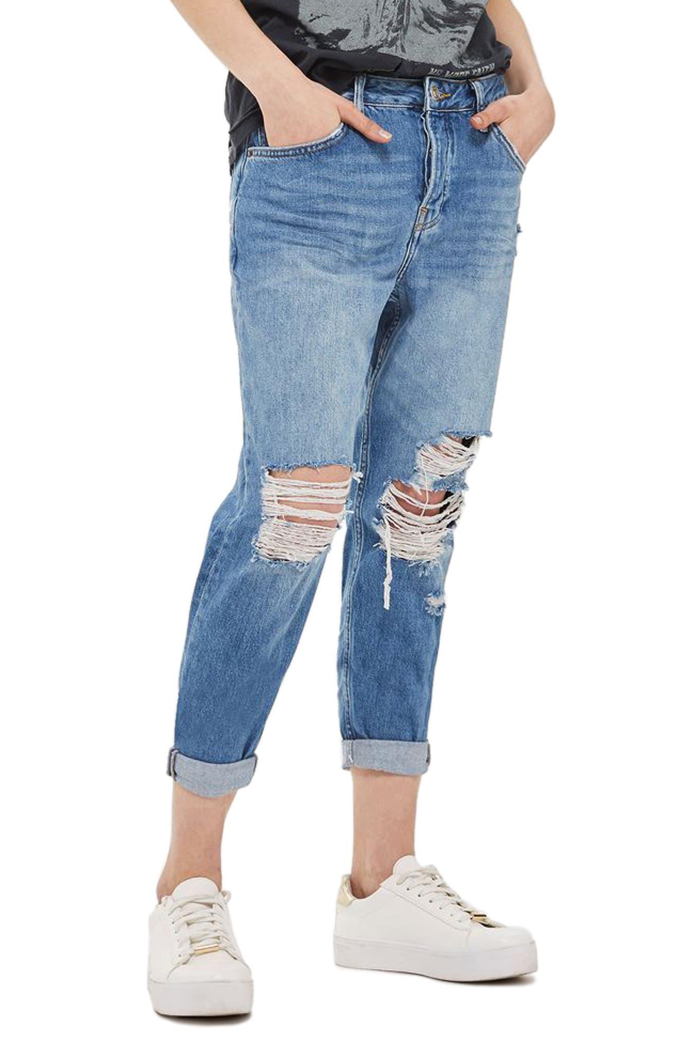 Hayden Ripped Boyfriend Jeans,                         Main,                         color, Mid Denim