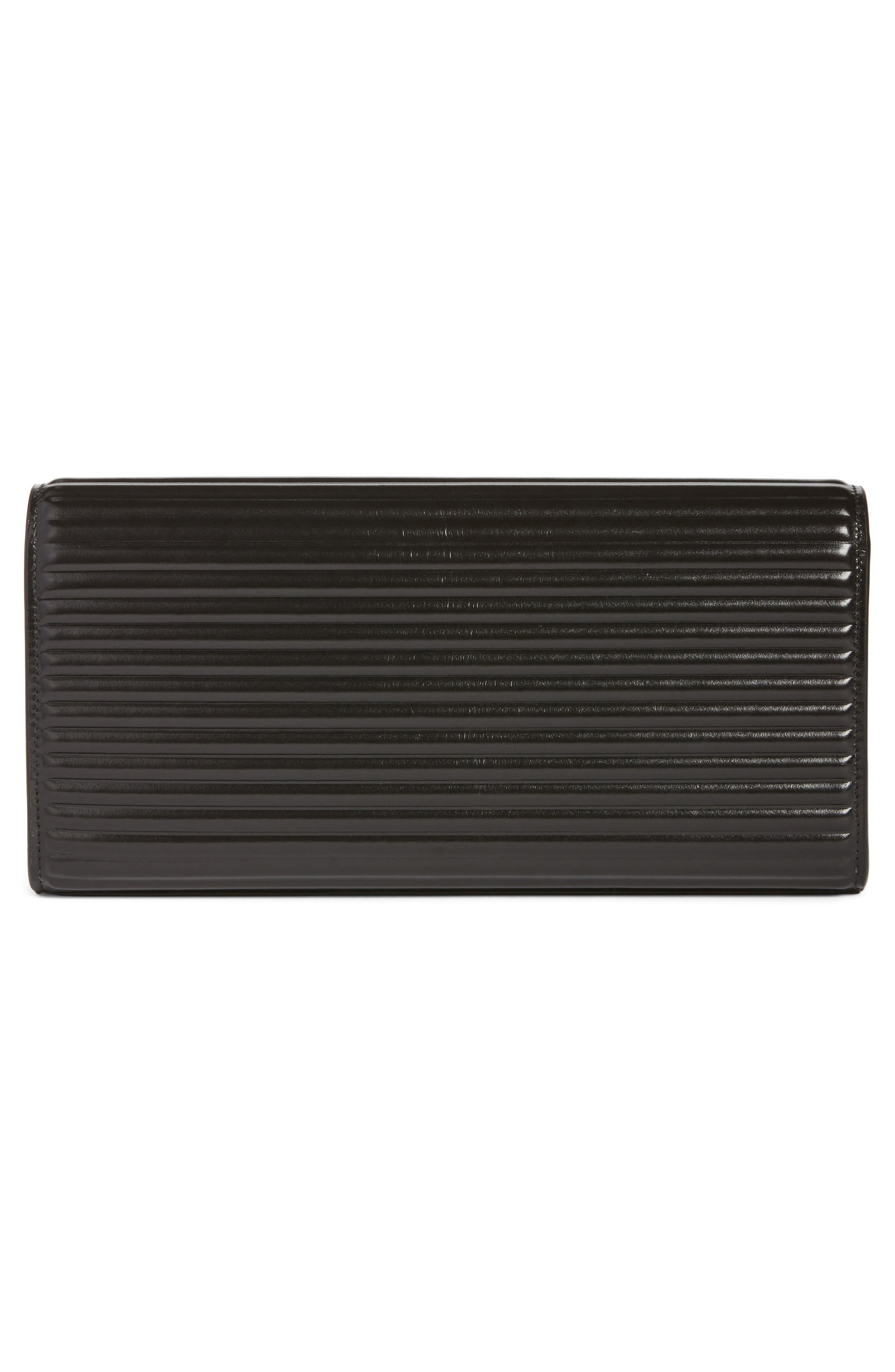 Kate Opium Leather Clutch,                             Alternate thumbnail 2, color,                             Nero