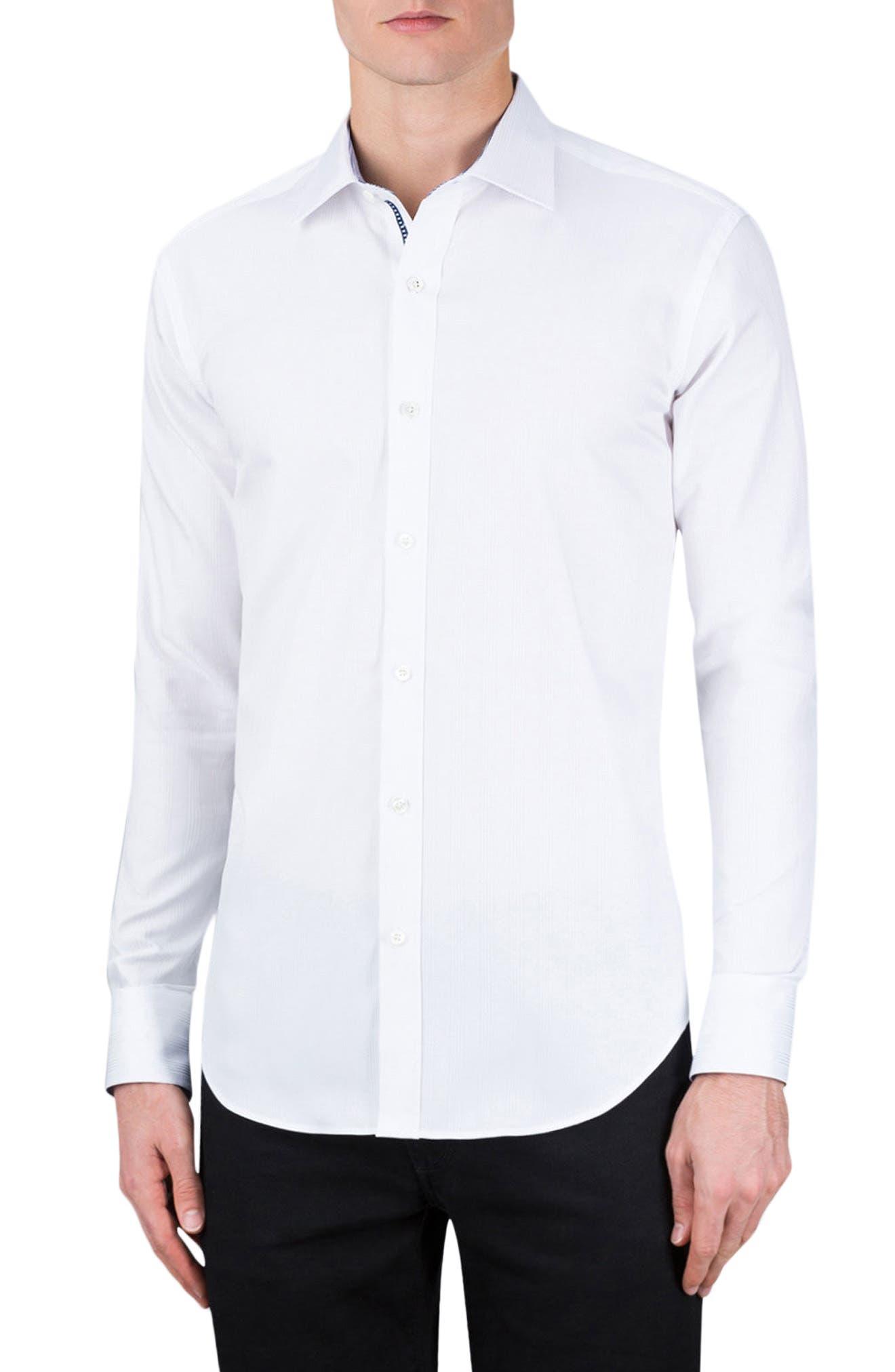 Classic Fit Stripe Jacquard Sport Shirt,                         Main,                         color, White