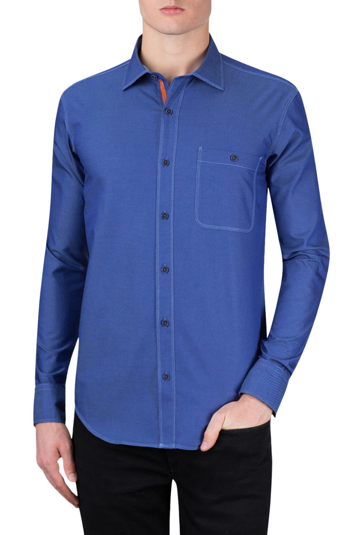 Classic Fit Topstitch Outline Sport Shirt,                         Main,                         color, Indigo