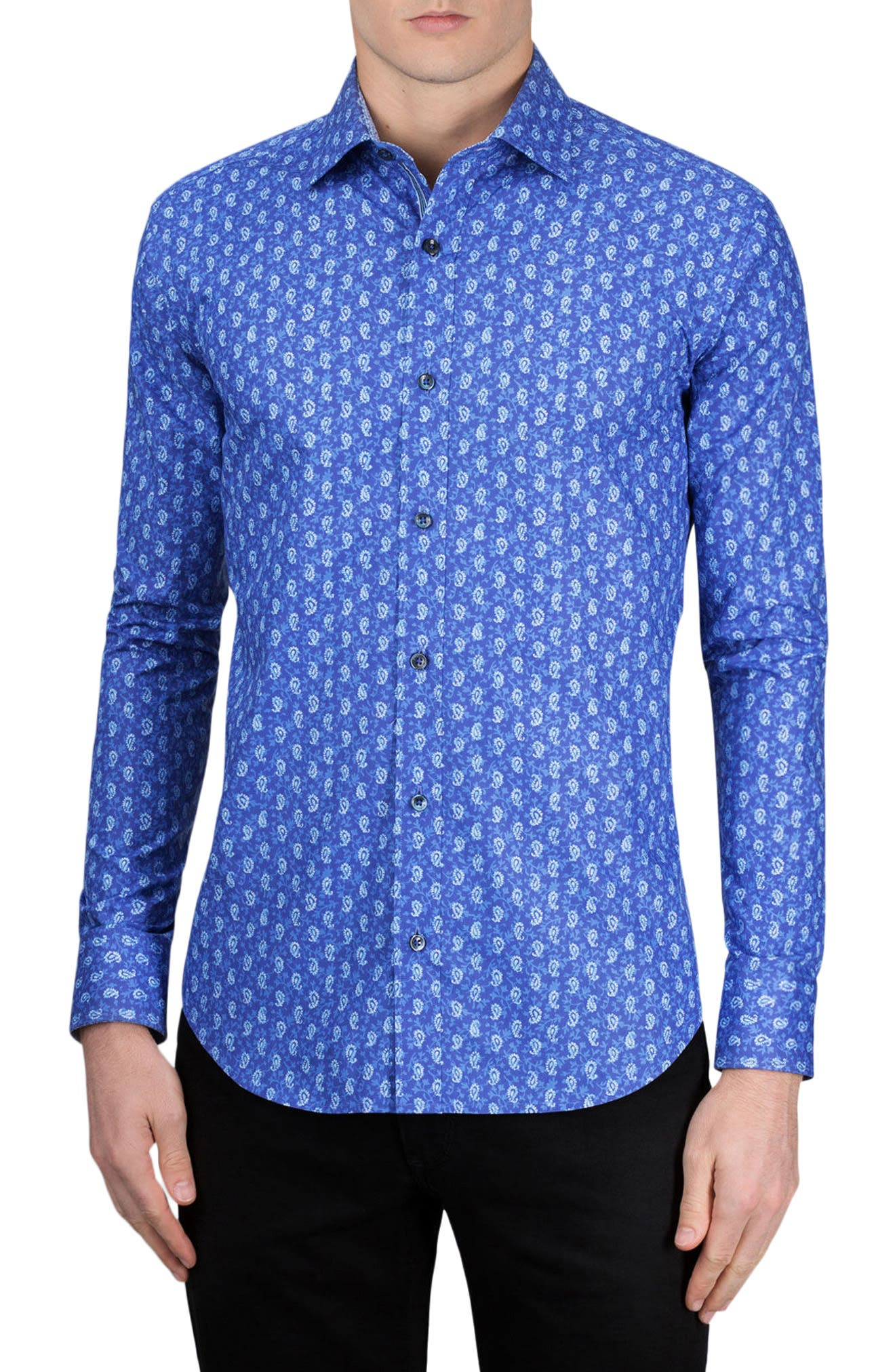 Shaped Fit Paisley Sport Shirt,                         Main,                         color, Night Blue