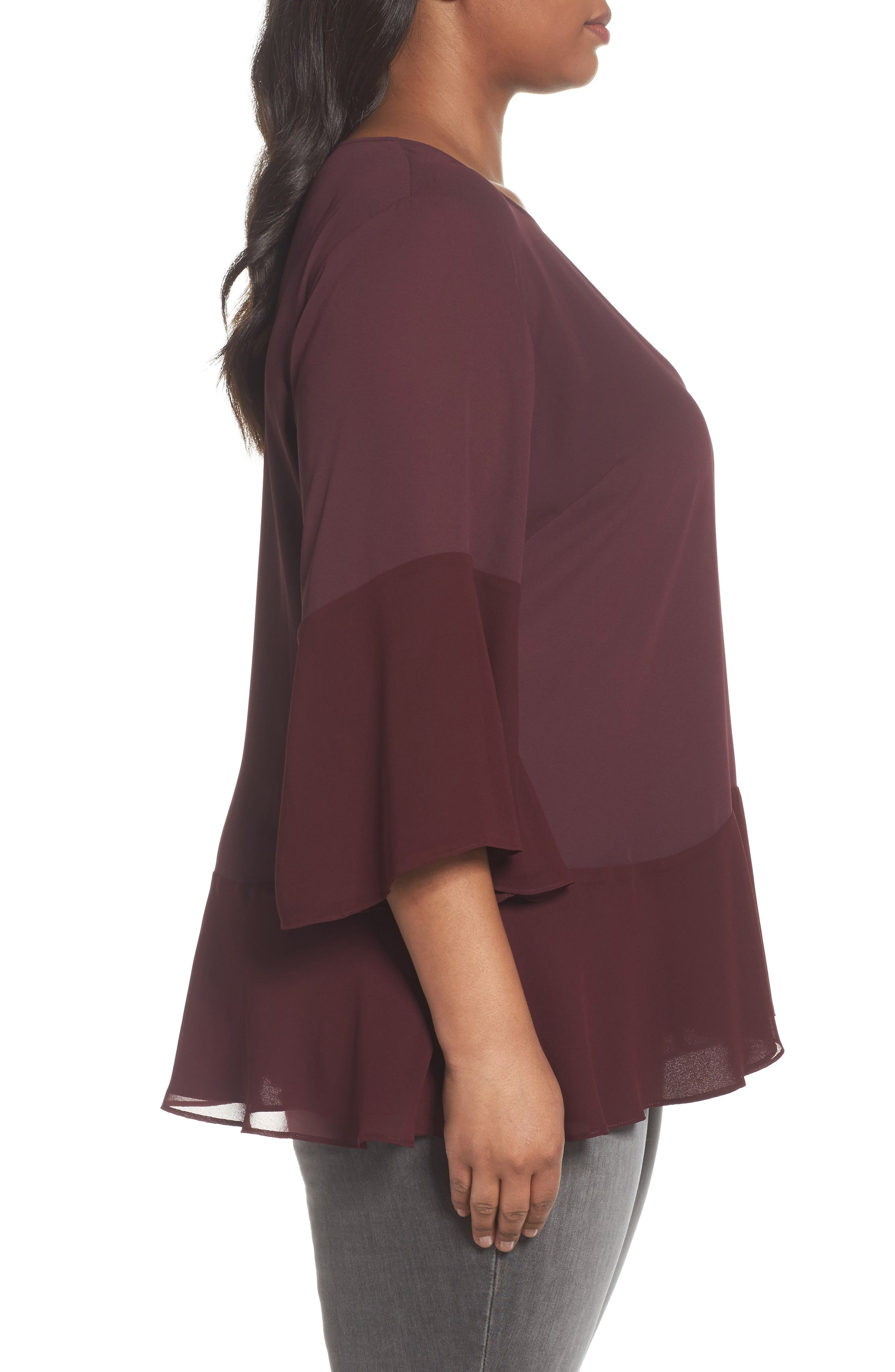 Alternate Image 3  - Sejour Flare Sleeve Double Layer Top (Plus Size)