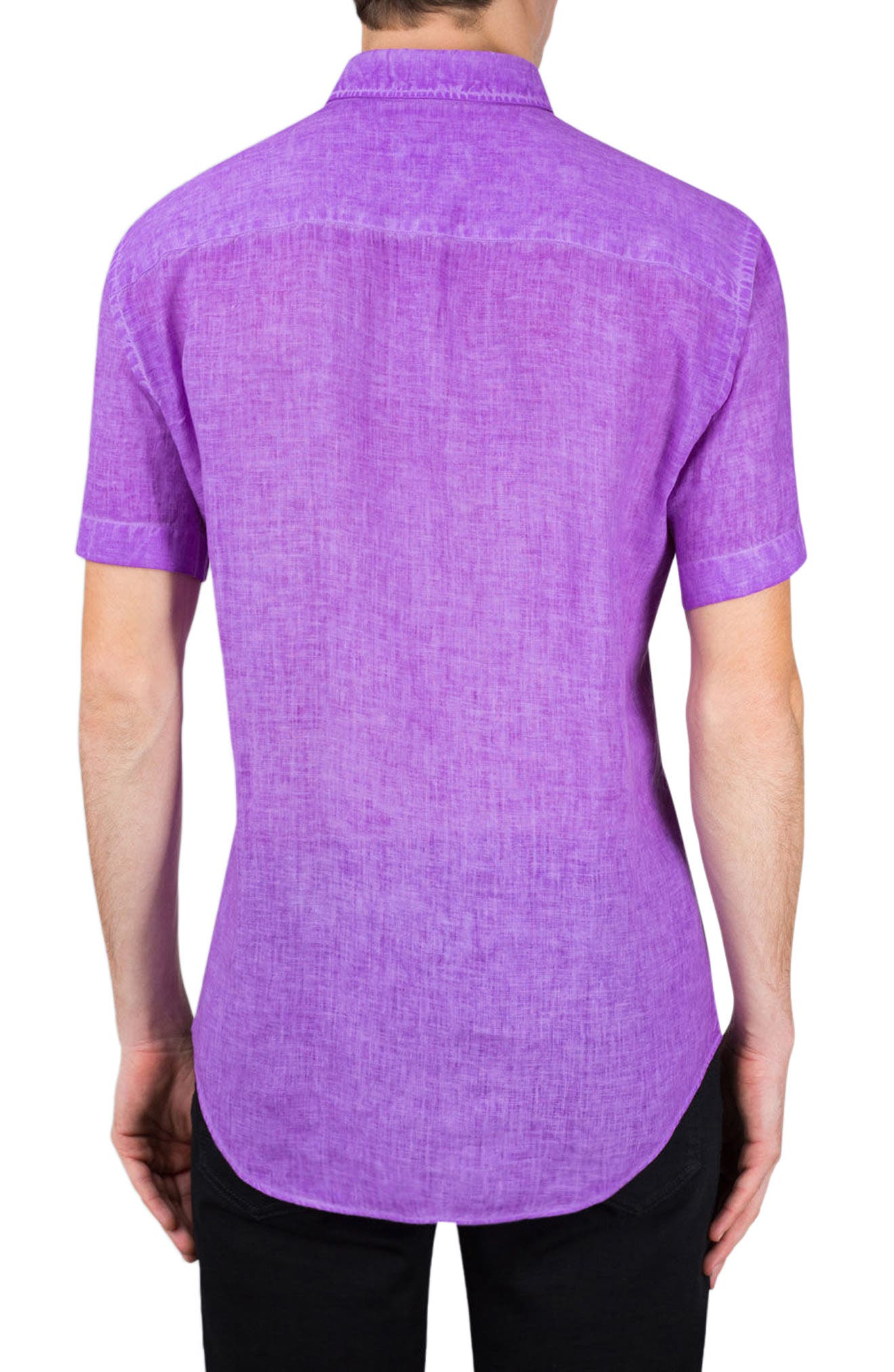 Shaped Fit Linen Sport Shirt,                             Alternate thumbnail 2, color,                             Orchid