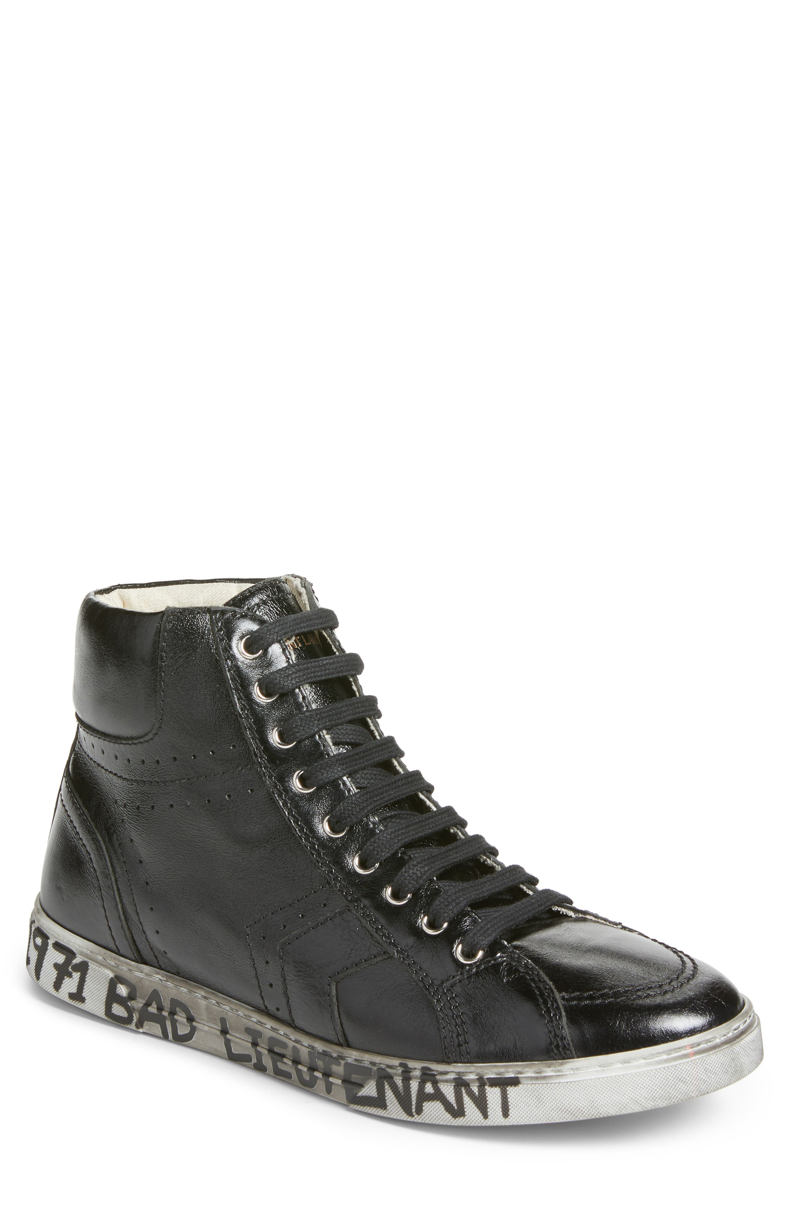 Distressed Sneaker,                         Main,                         color, Nero Leather