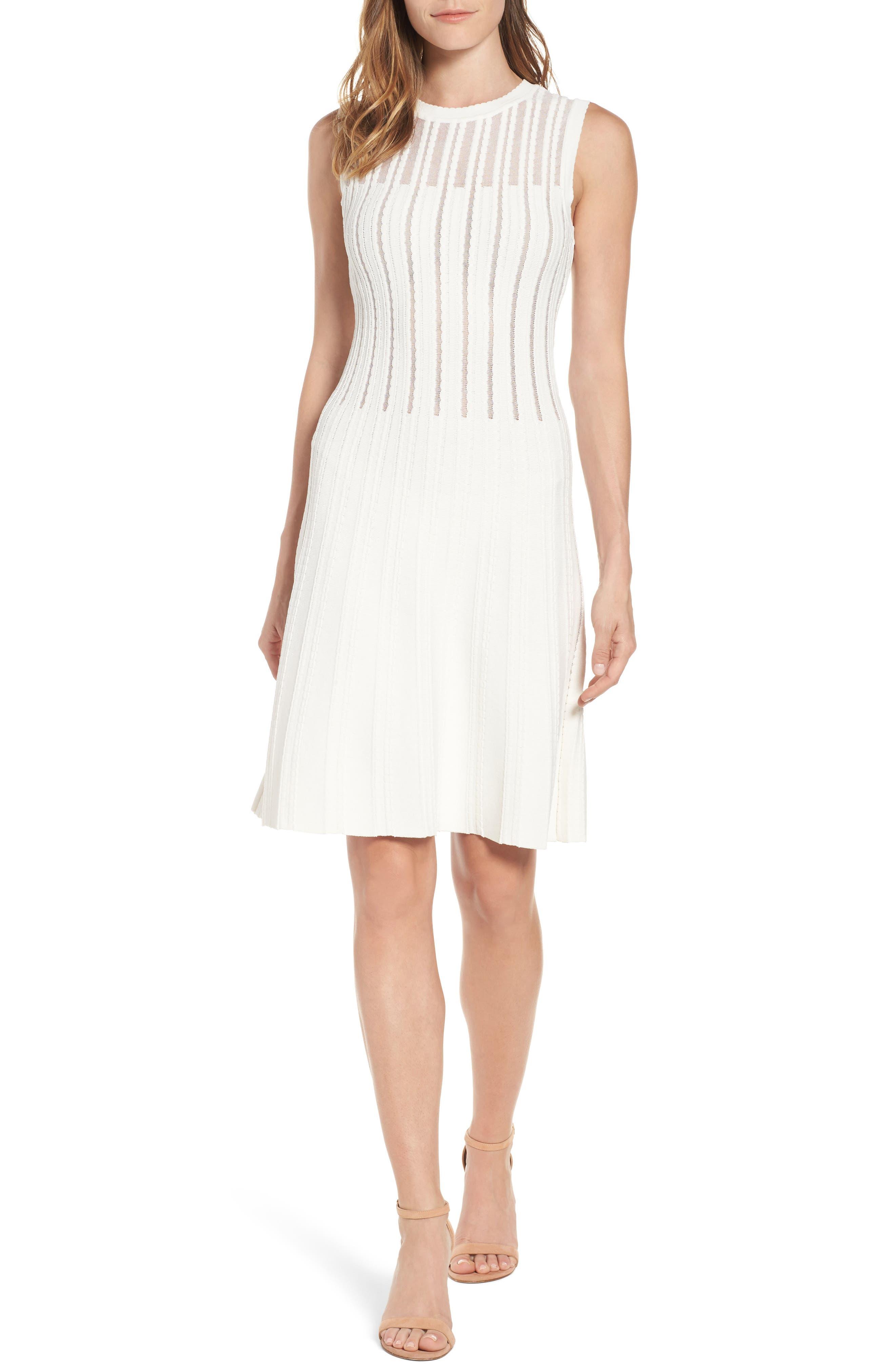 Knit A-Line Dress,                         Main,                         color, White