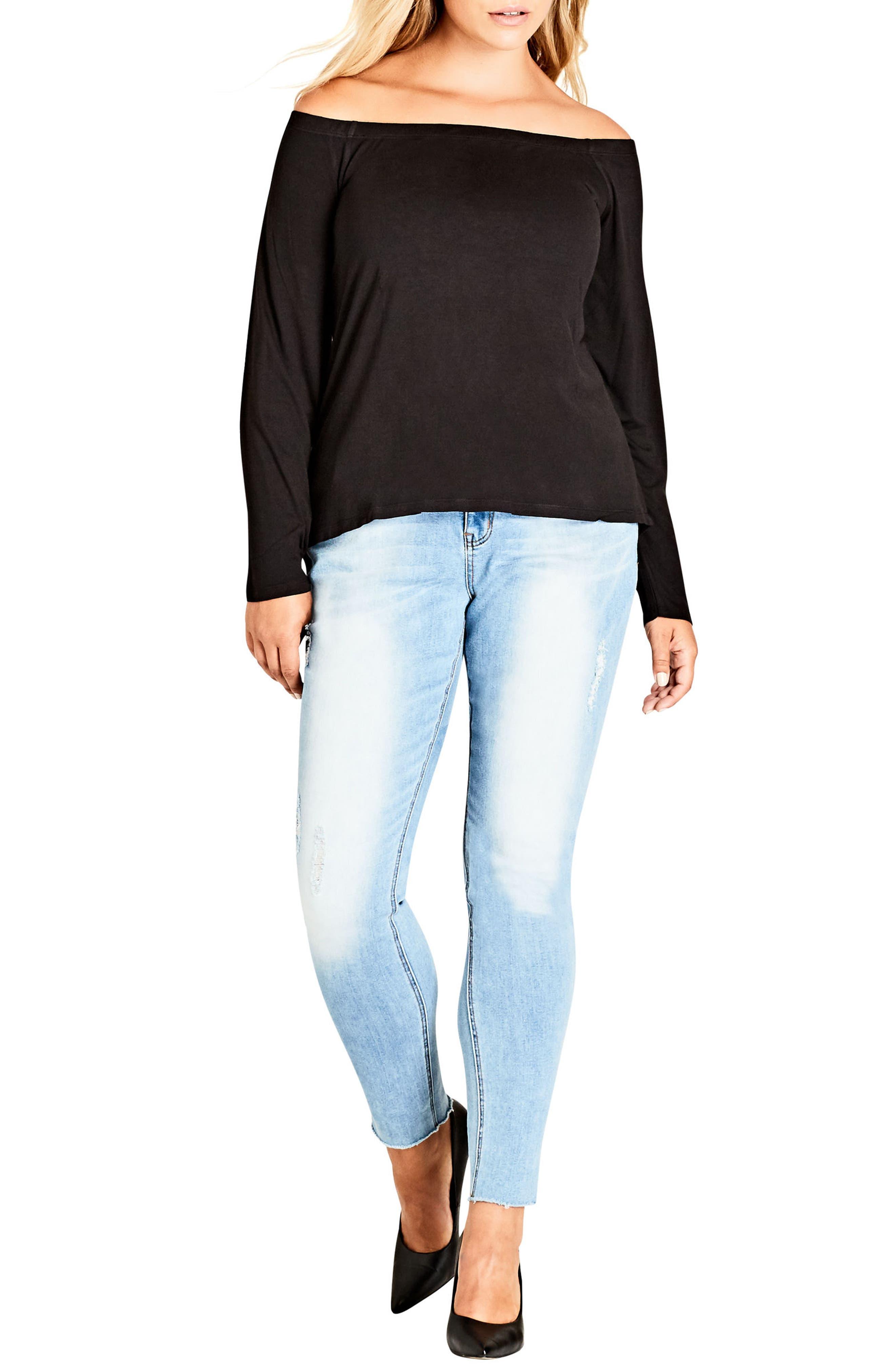 Basic Off the Shoulder Top,                         Main,                         color, Black