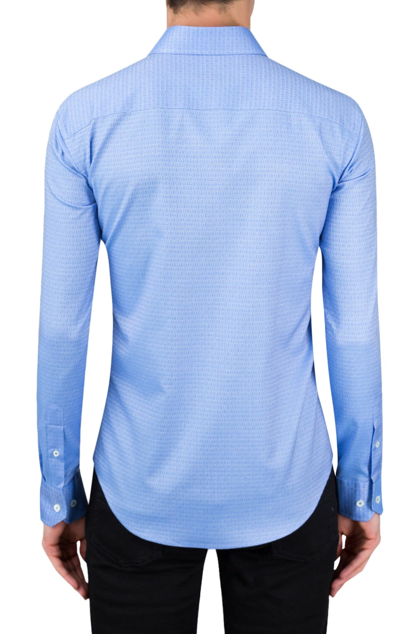 Shaped Fit Medallion Sport Shirt,                             Alternate thumbnail 2, color,                             Air Blue