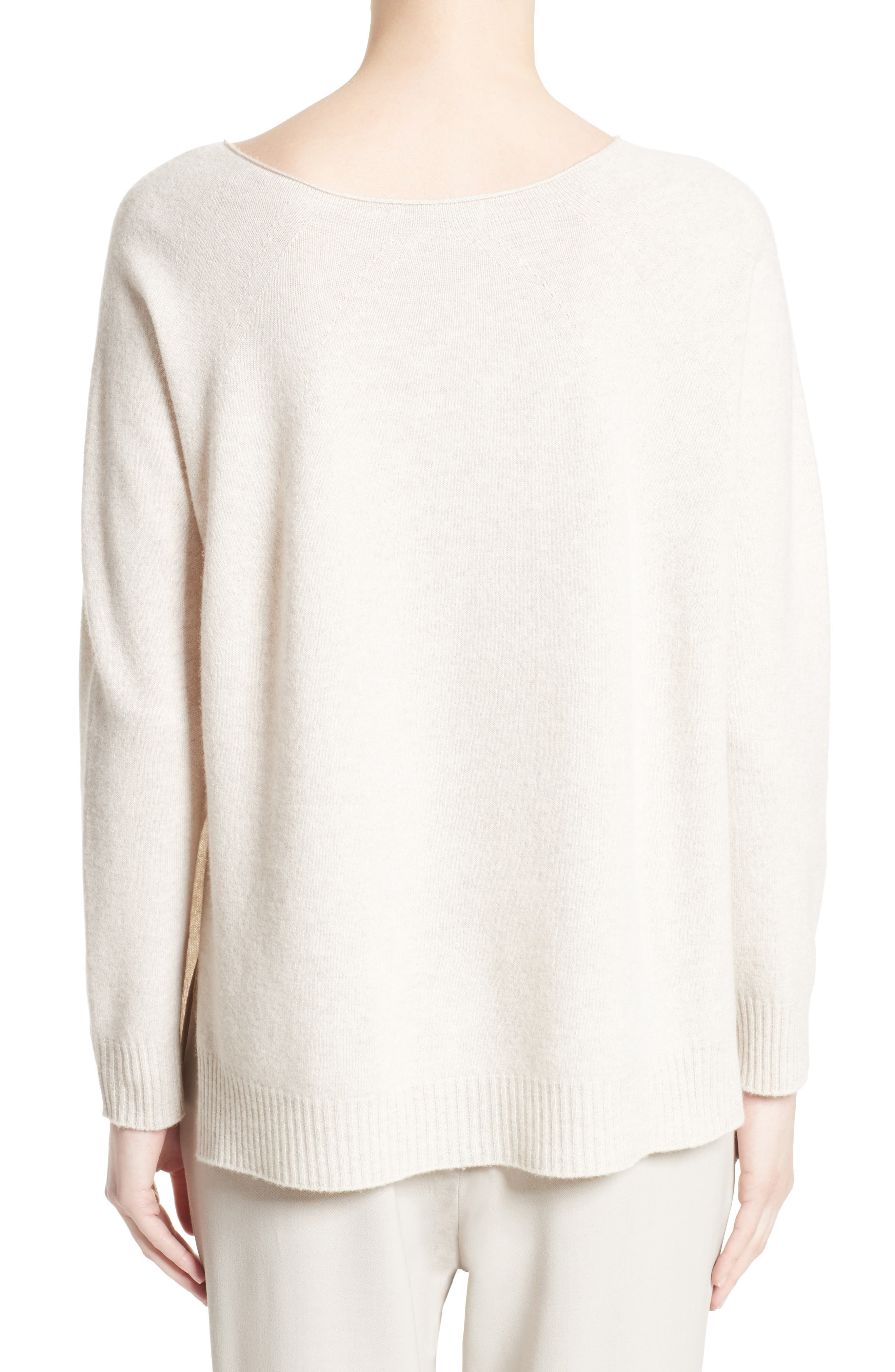 Needle Punch Ostrich Feather Trim Sweater,                             Alternate thumbnail 2, color,                             Oatmeal