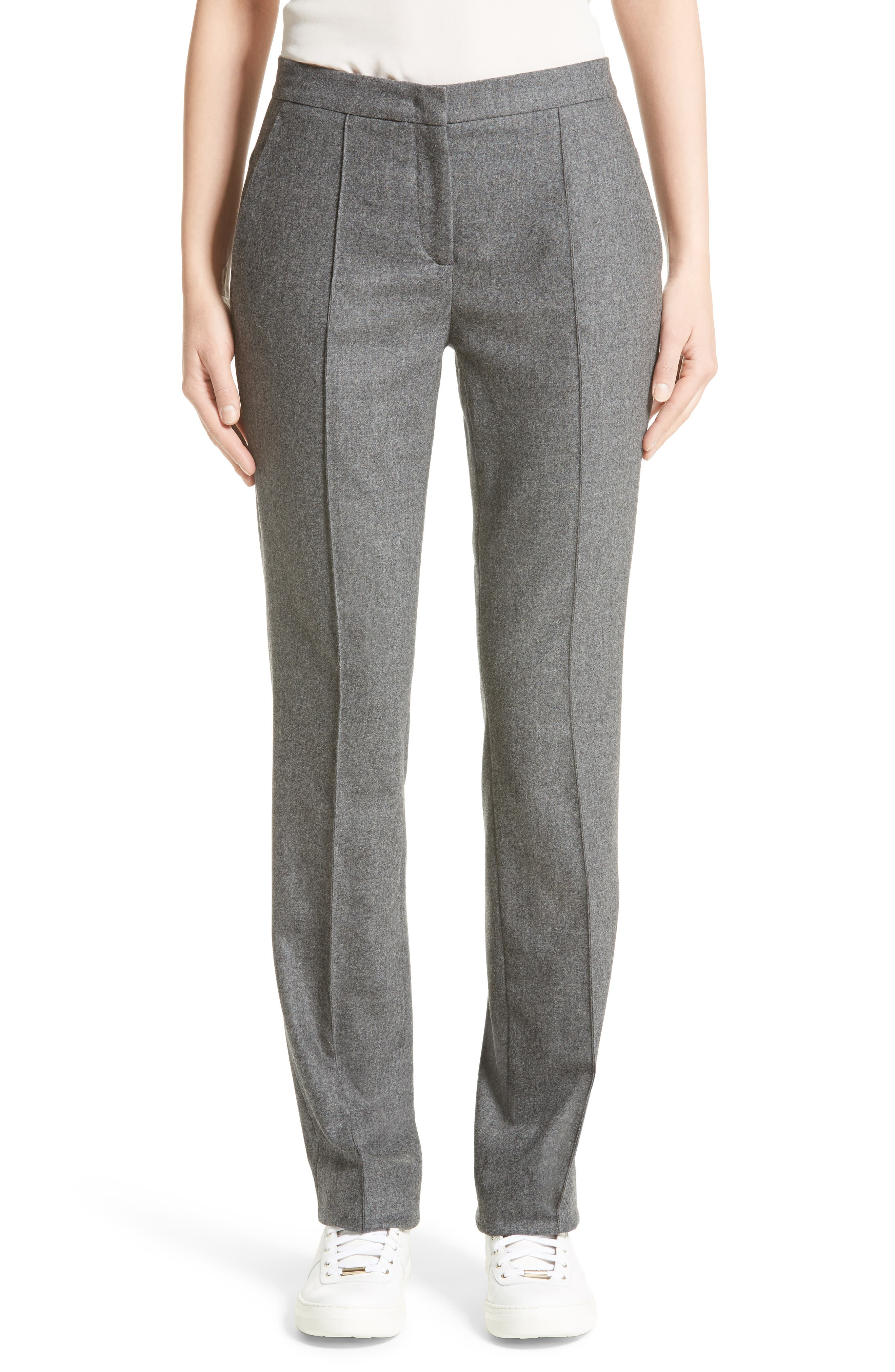High Waist Flannel Trousers,                         Main,                         color, Grey