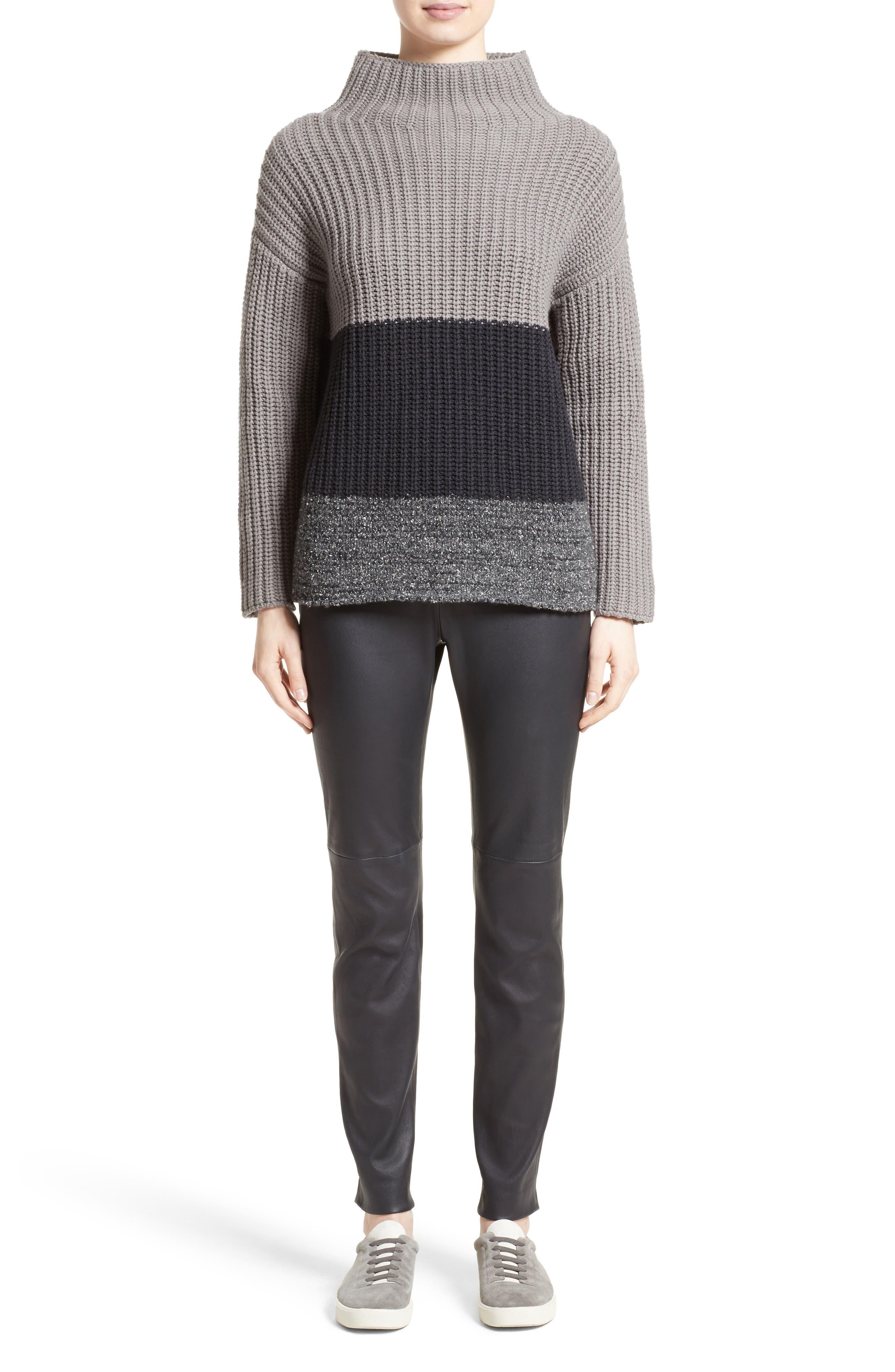 Ribbed Colorblock Sweater,                             Alternate thumbnail 7, color,                             Grey Multi