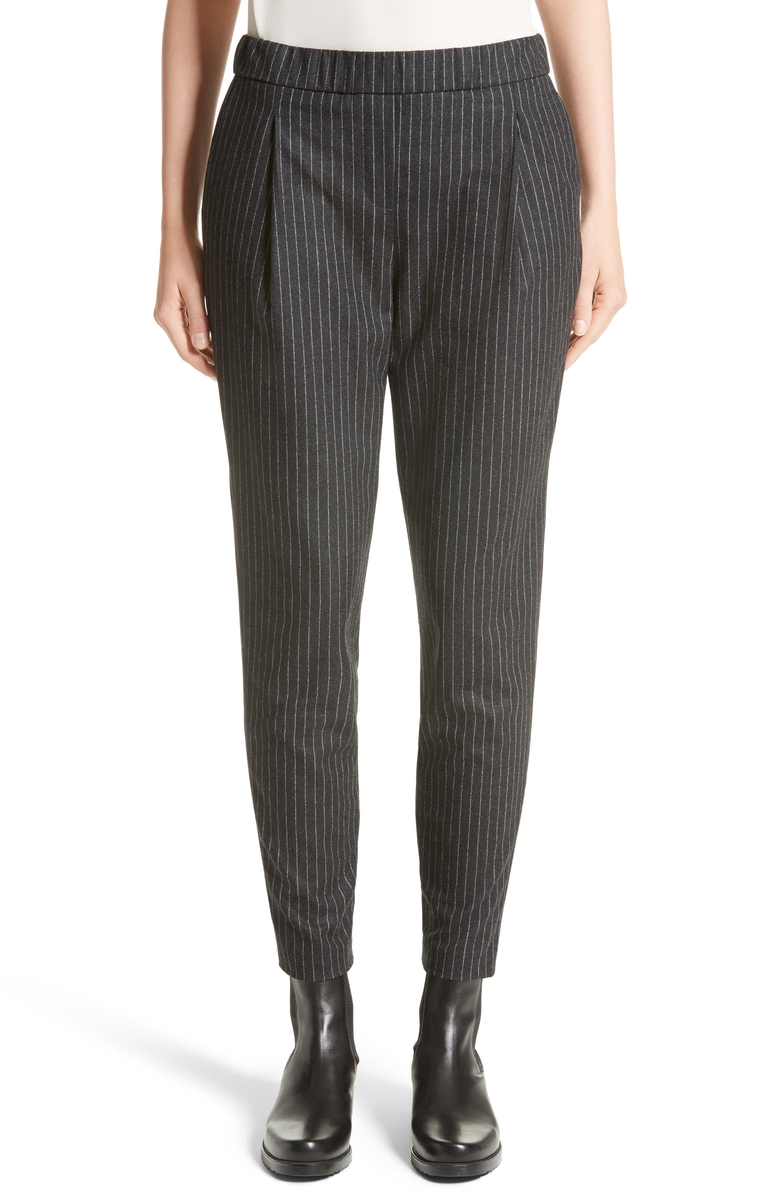 Pinstripe Wool Flannel Pants,                         Main,                         color, Charcoal