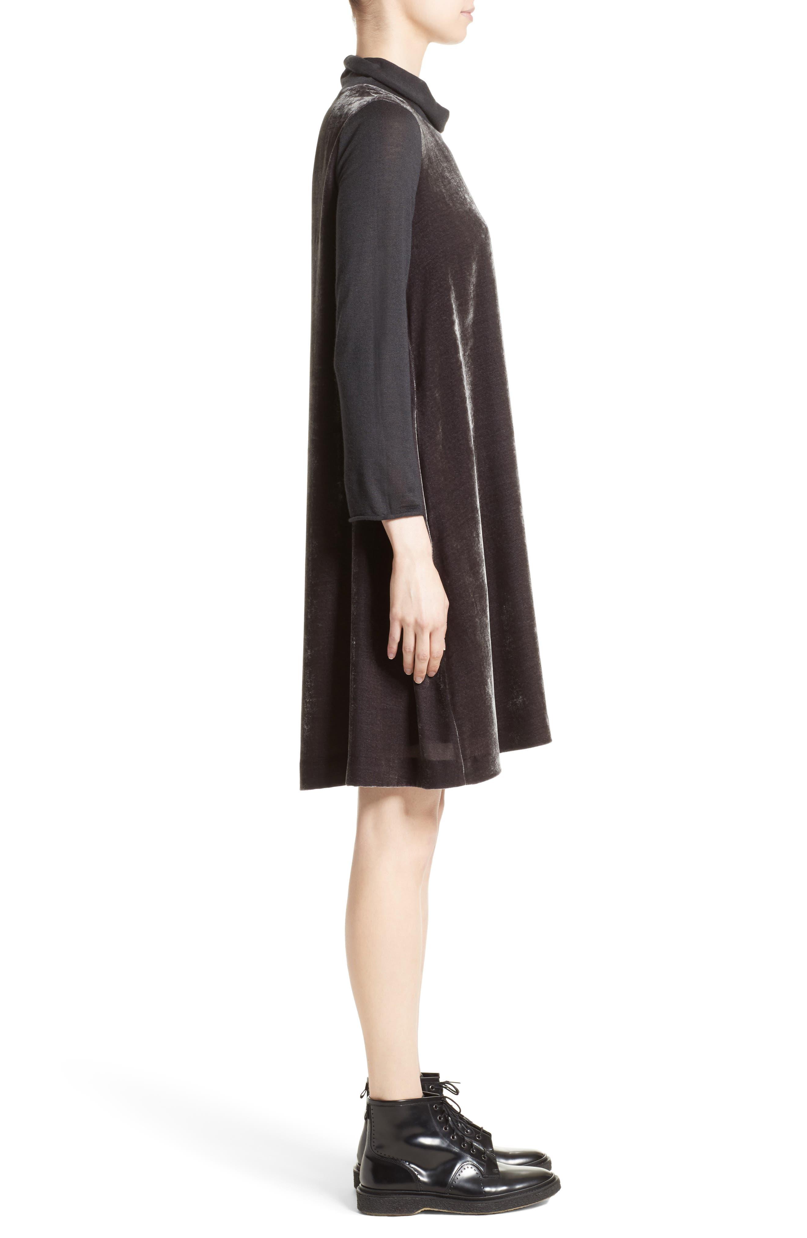 Velvet Turtleneck Dress,                             Alternate thumbnail 6, color,                             Charcoal