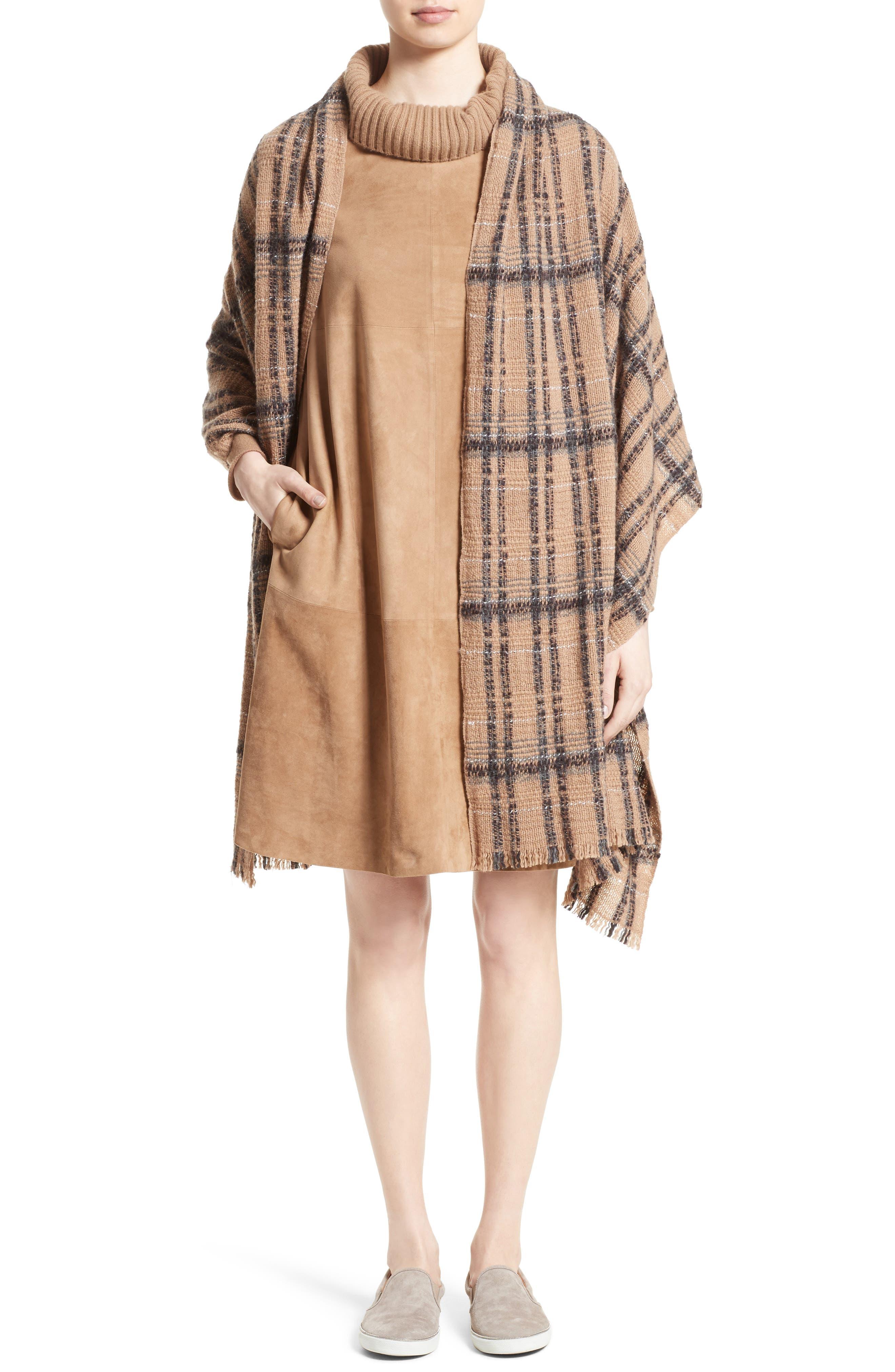 Suede & Cashmere Dress,                             Alternate thumbnail 8, color,                             Camel