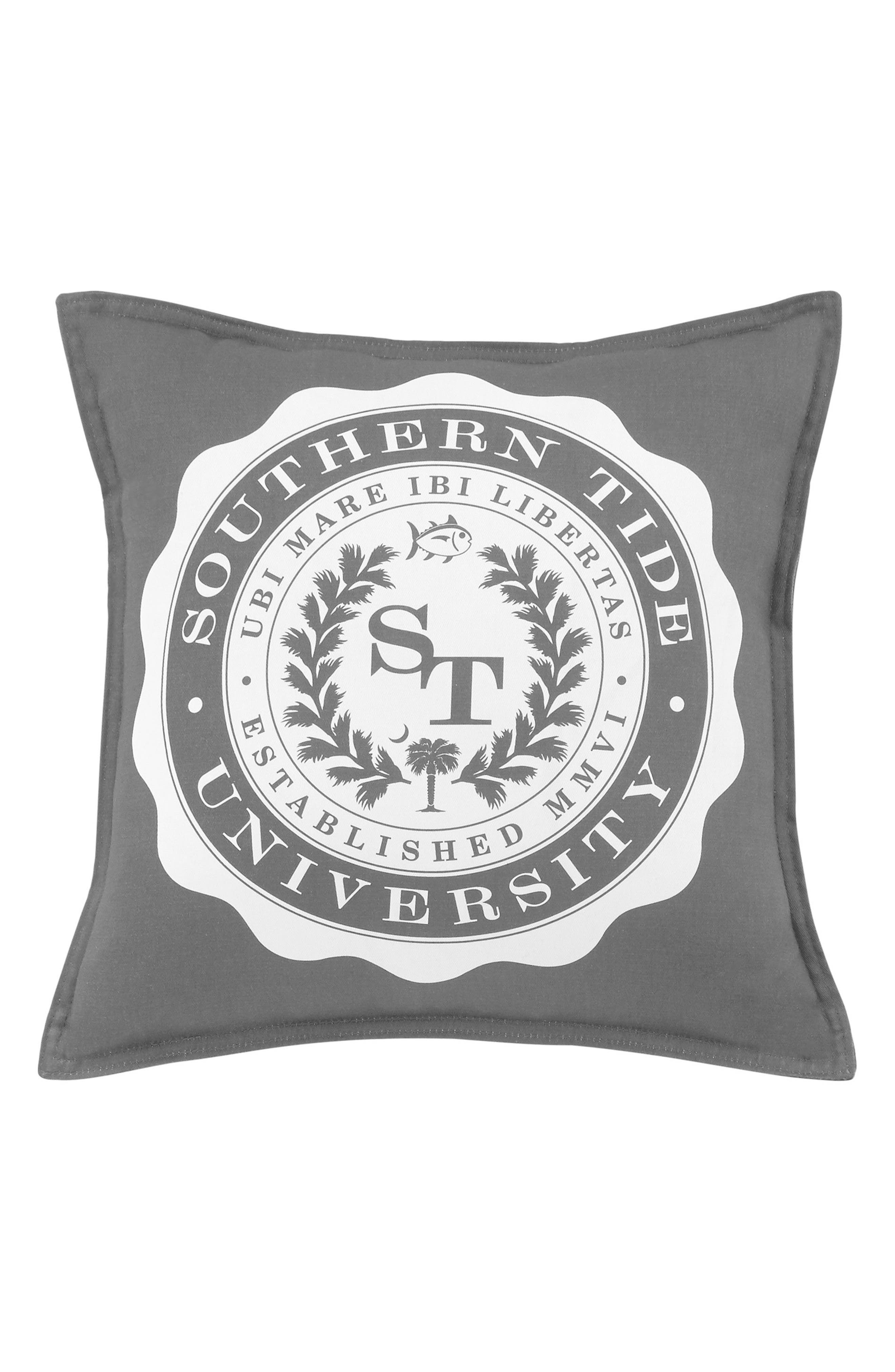 Skipjack Chino University Accent Pillow,                         Main,                         color, Steel Grey