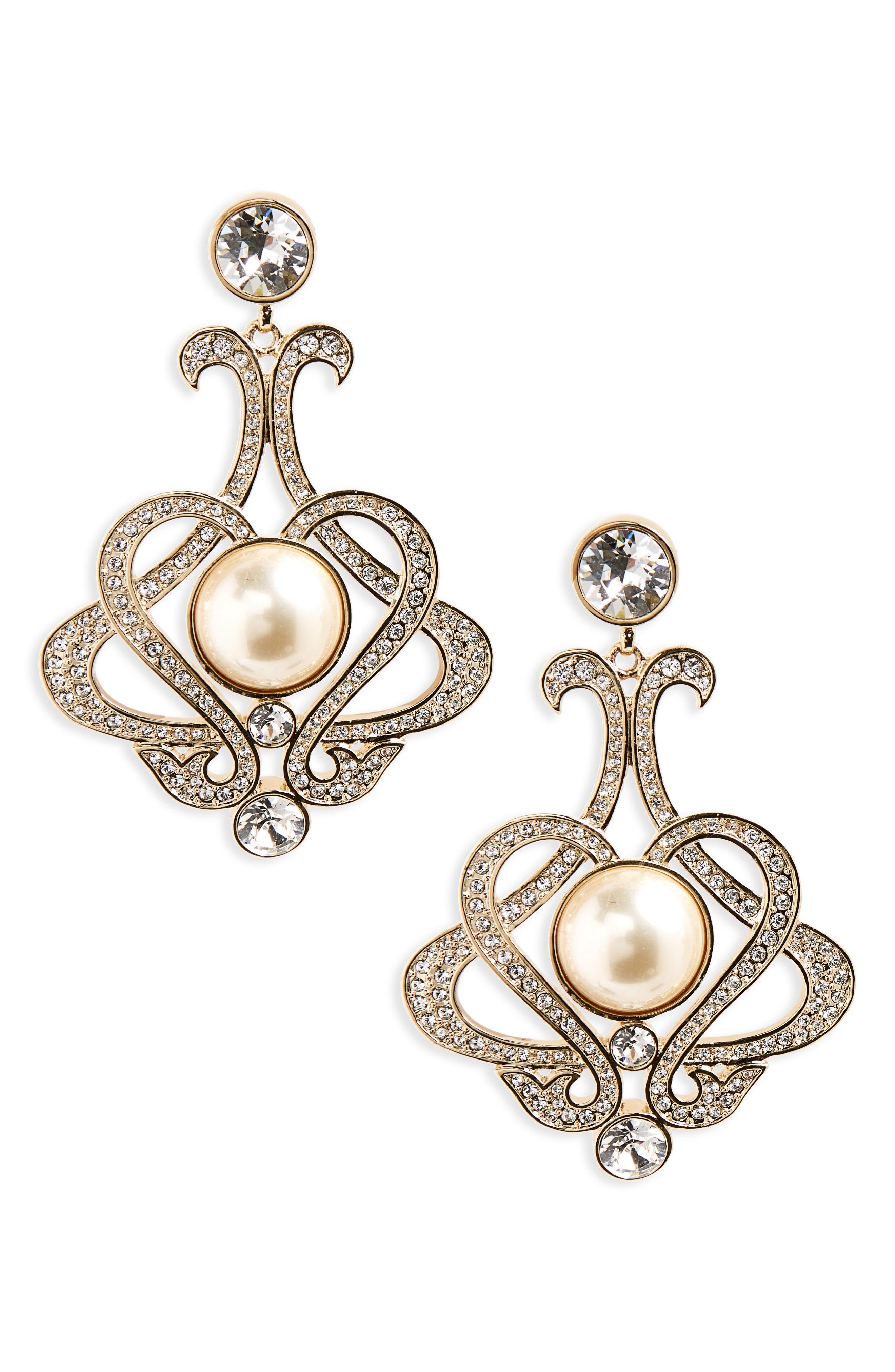 Nina Crystal & Imitation Pearl Chandelier Earrings