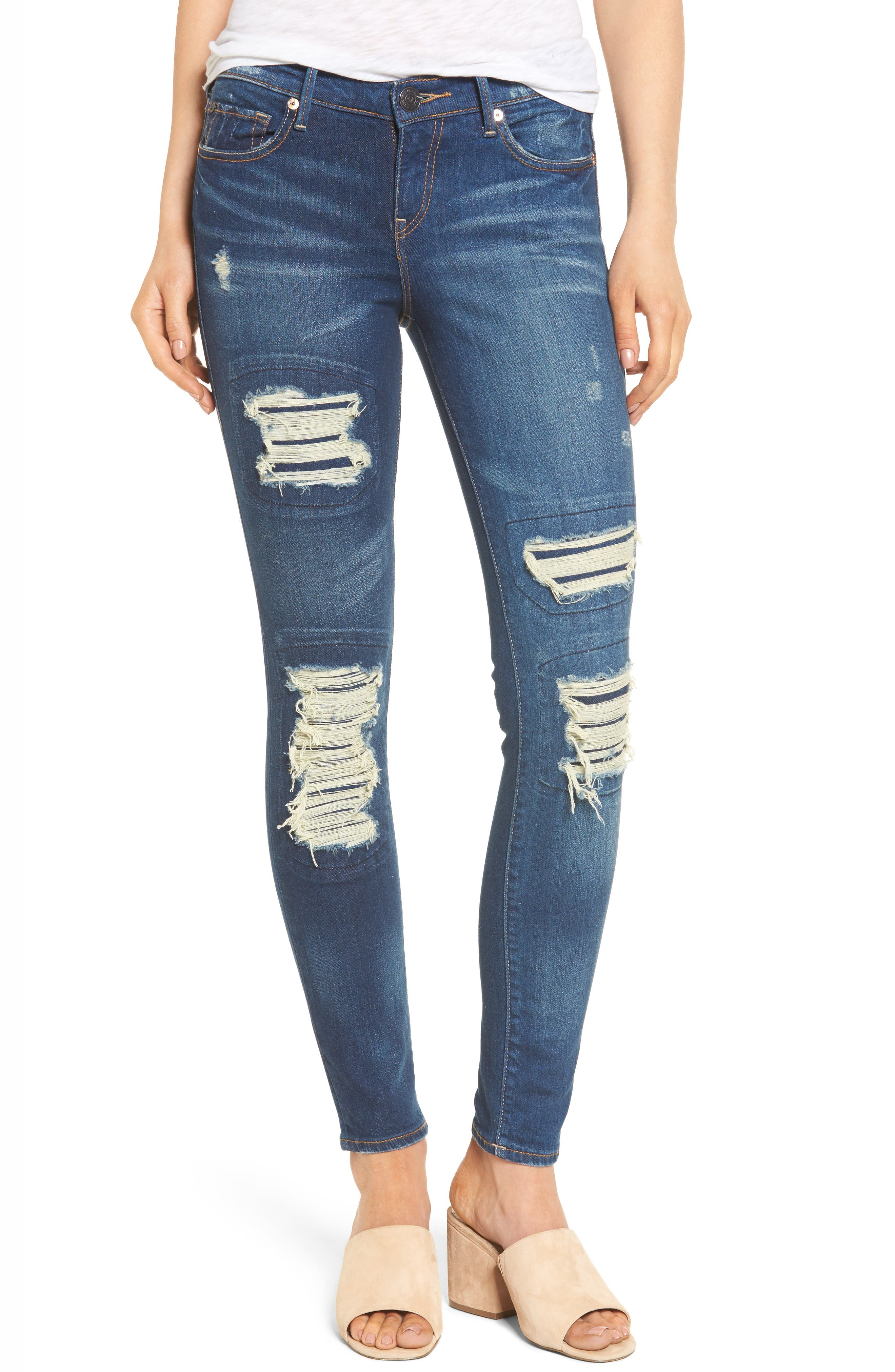 Alternate Image 1 Selected - True Religion Brand Jeans Halle Super Skinny Jeans (Indigo Cadence)