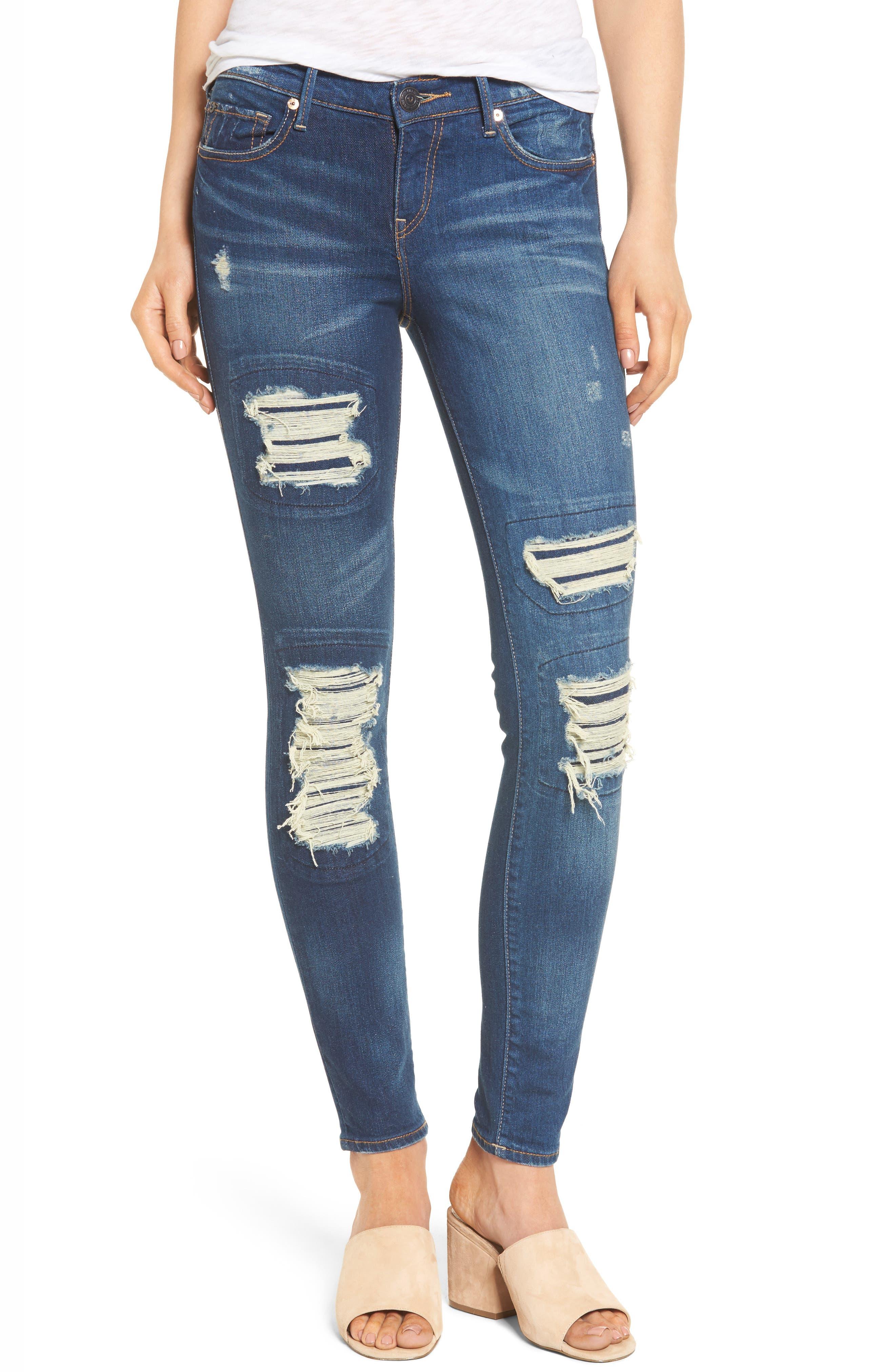 Halle Super Skinny Jeans,                         Main,                         color, Indigo Cadence