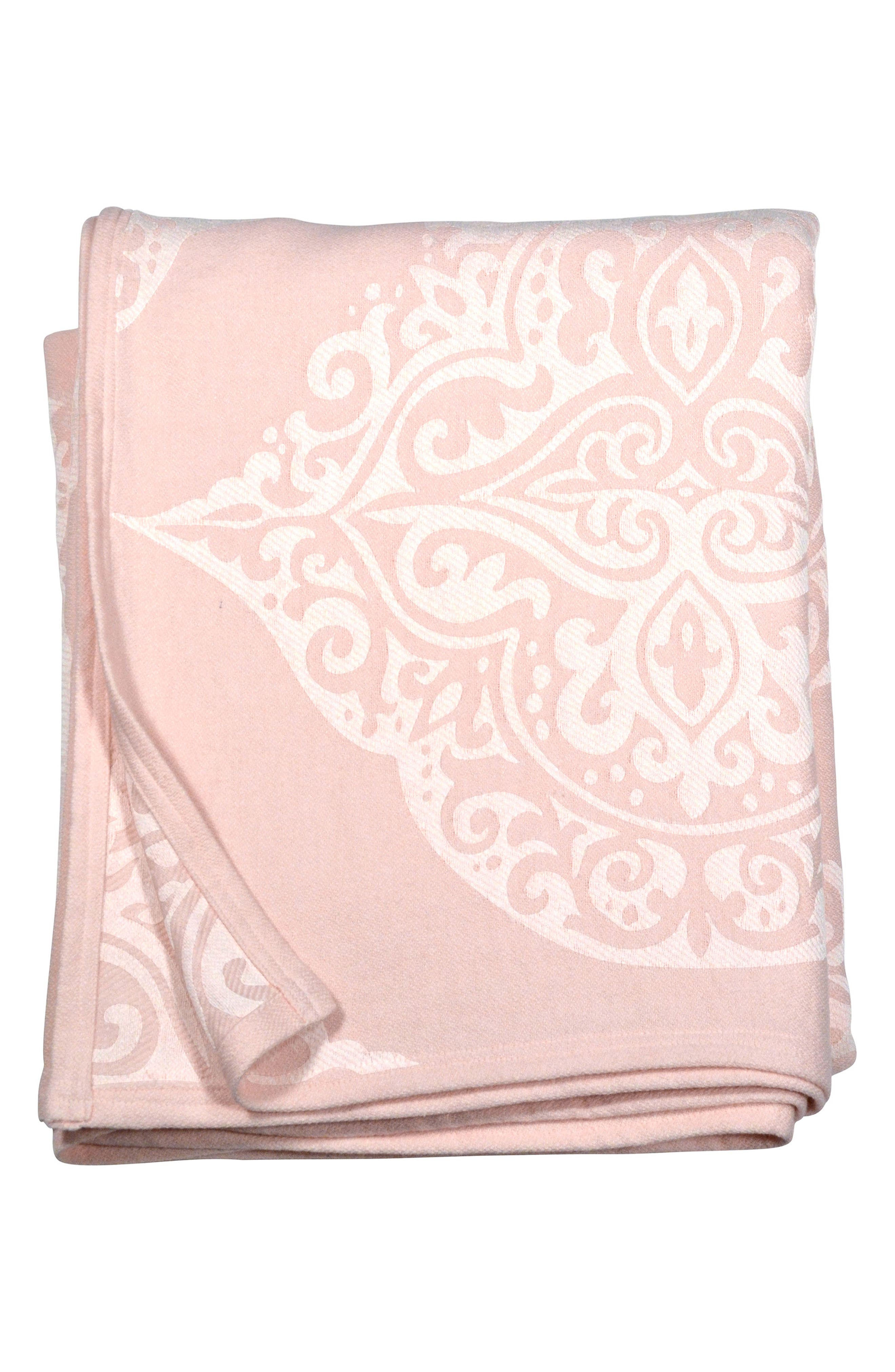 Damask Blanket,                         Main,                         color, Blush