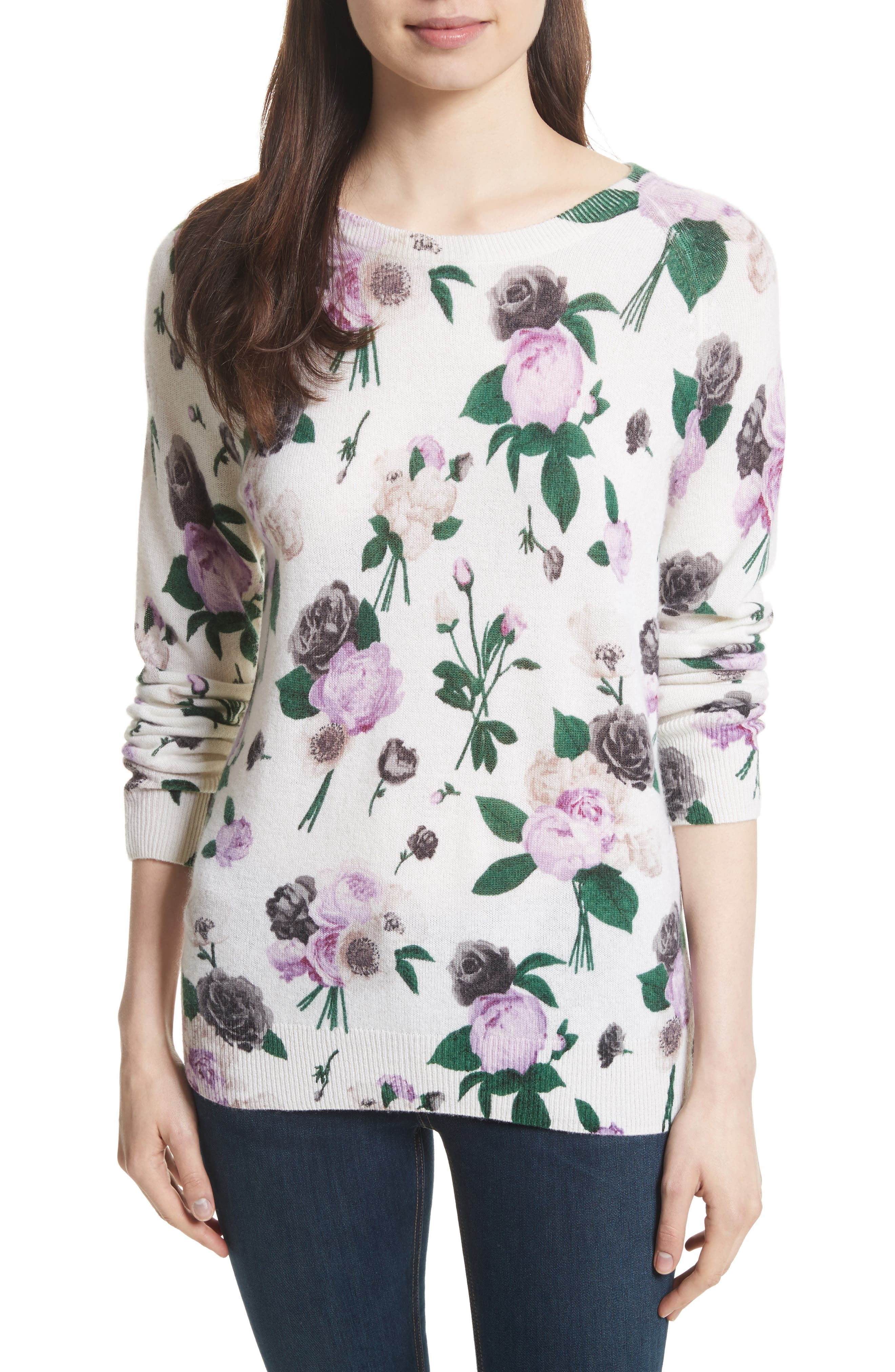 Equipment Sloane Floral Print Cashmere Sweater