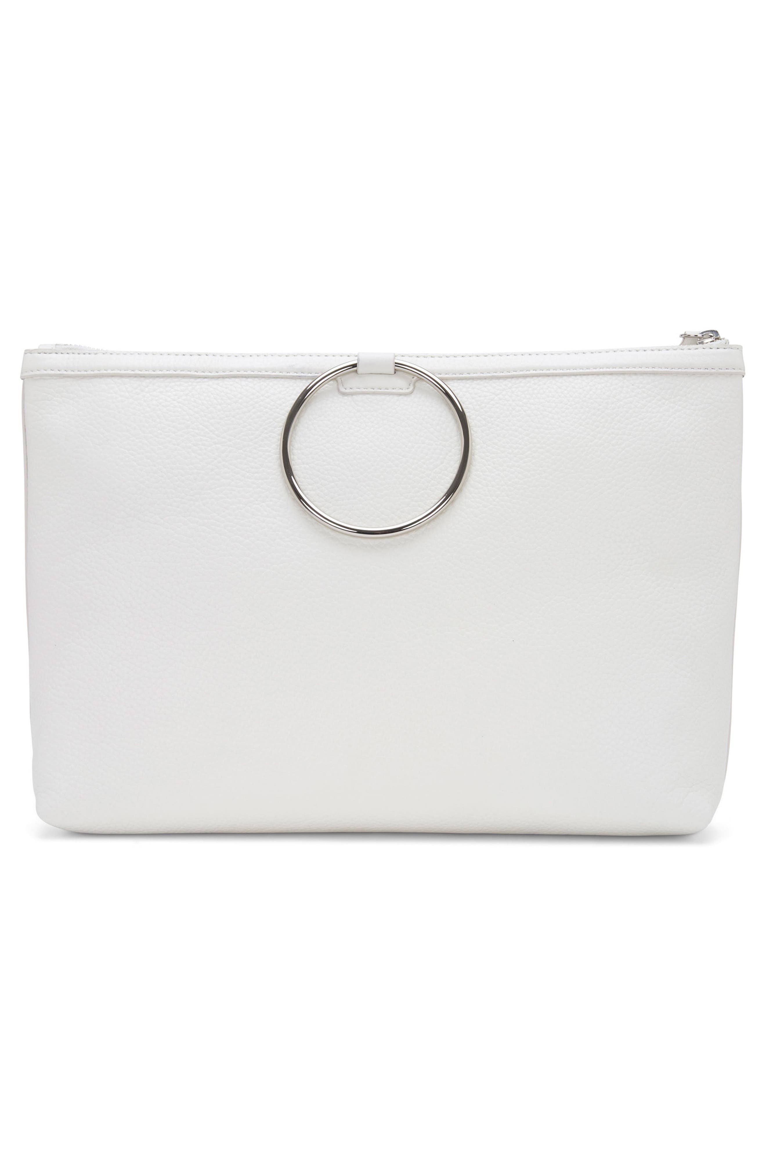 Large Pebbled Leather Ring Clutch,                             Alternate thumbnail 6, color,                             Off White