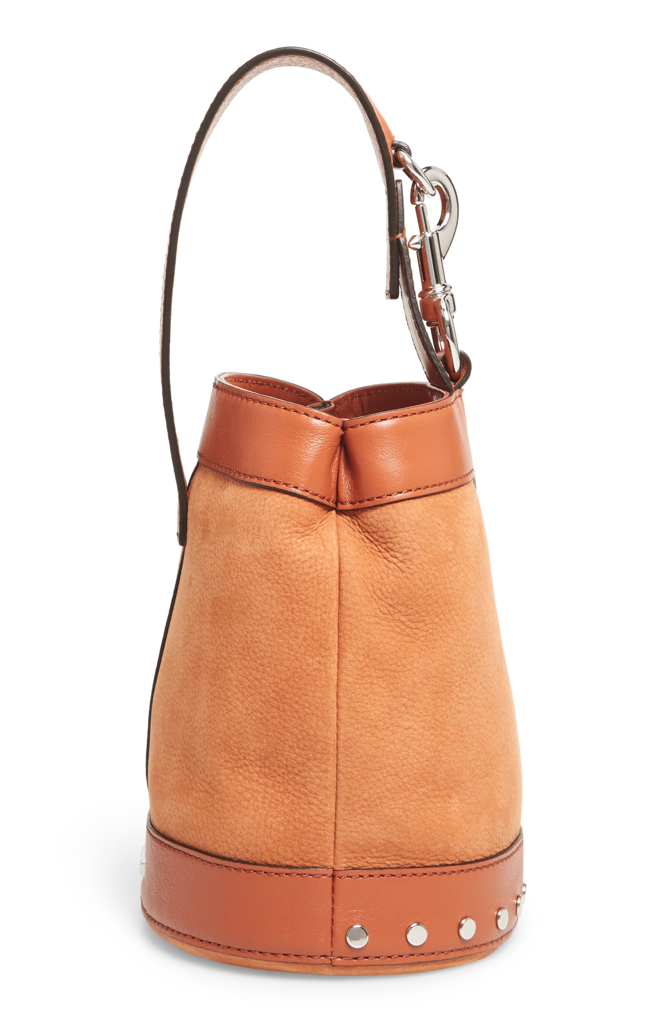 Mini Mission Leather Bucket Bag,                             Alternate thumbnail 6, color,                             Almond