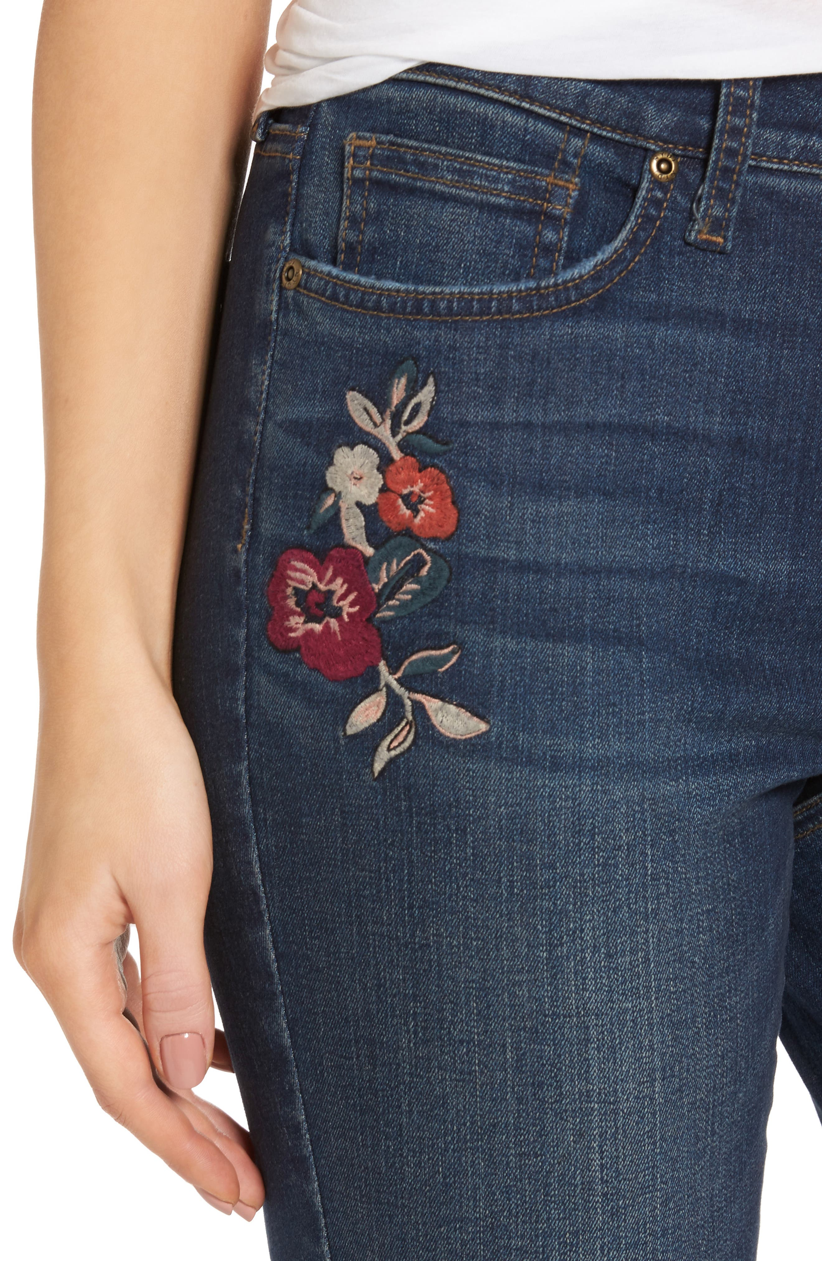 Alternate Image 4  - NYDJ Alina Embroidered Stretch Skinny Ankle Jeans (Horizon)