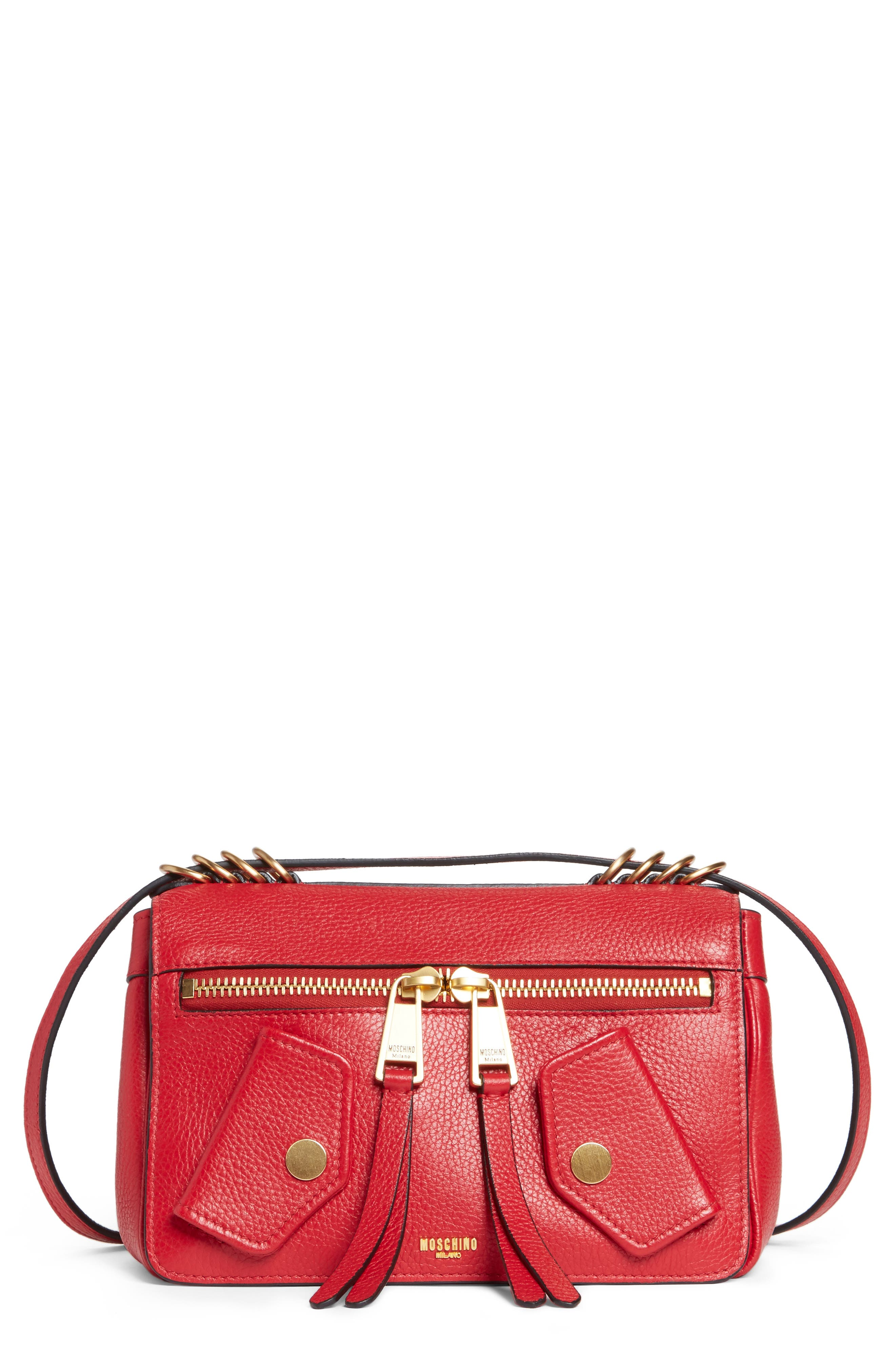 Grainy-B Leather Crossbody Bag,                             Main thumbnail 1, color,                             Red