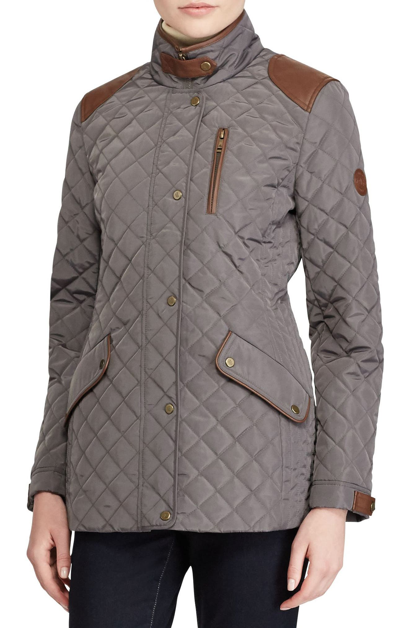 Lauren Ralph Lauren Diamond Quilted Jacket with Faux Leather Trim (Regular & Petite)