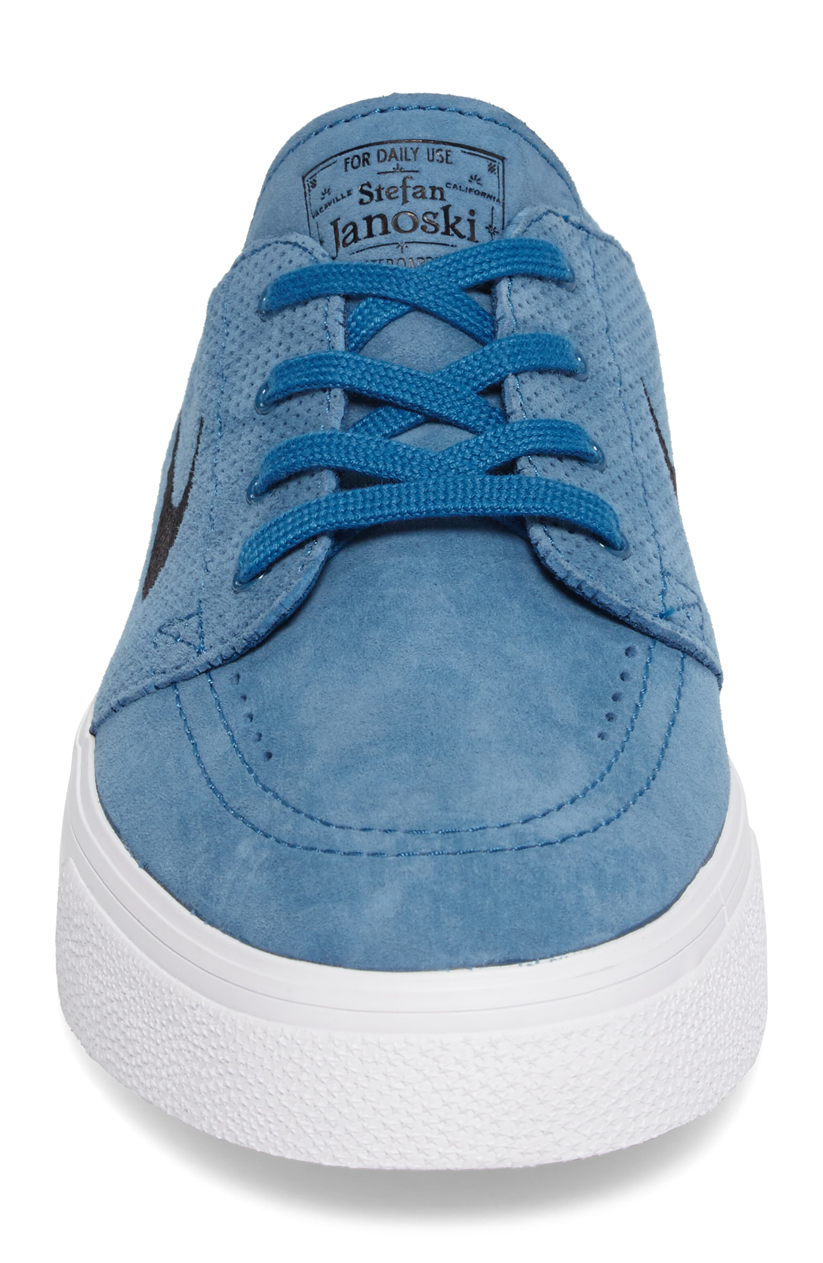 Zoom Stefan Janoski Premium Skate Sneaker,                             Alternate thumbnail 5, color,                             Industrial Blue/ Black