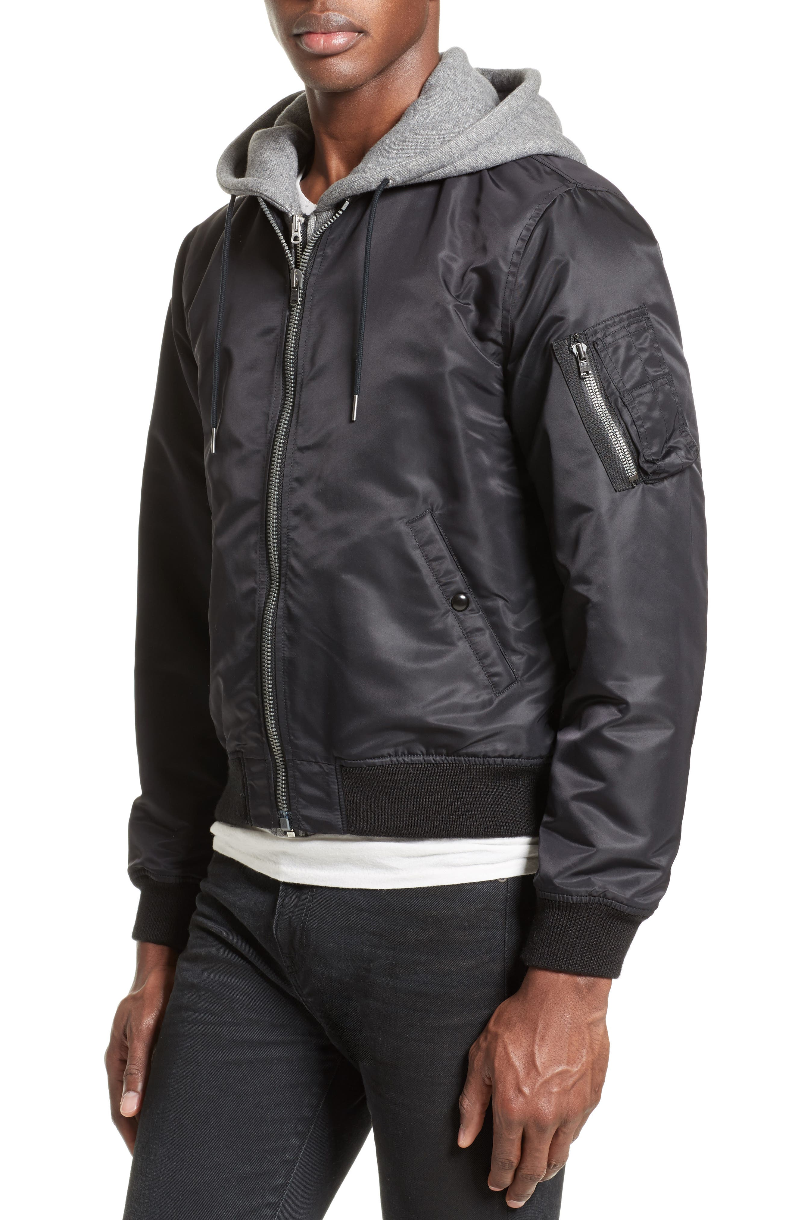 Flight Jacket with Hoodie,                             Alternate thumbnail 4, color,                             Black